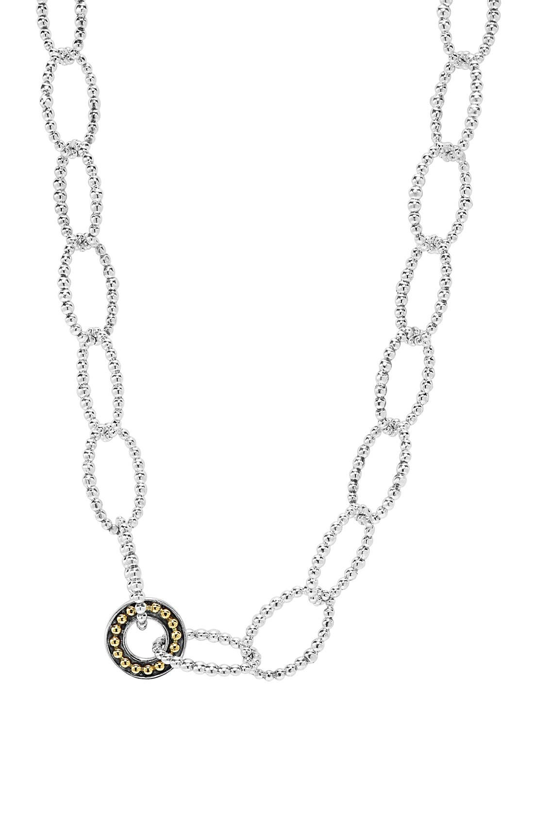 'Enso' Long Station Necklace,                             Alternate thumbnail 3, color,                             SILVER/ GOLD