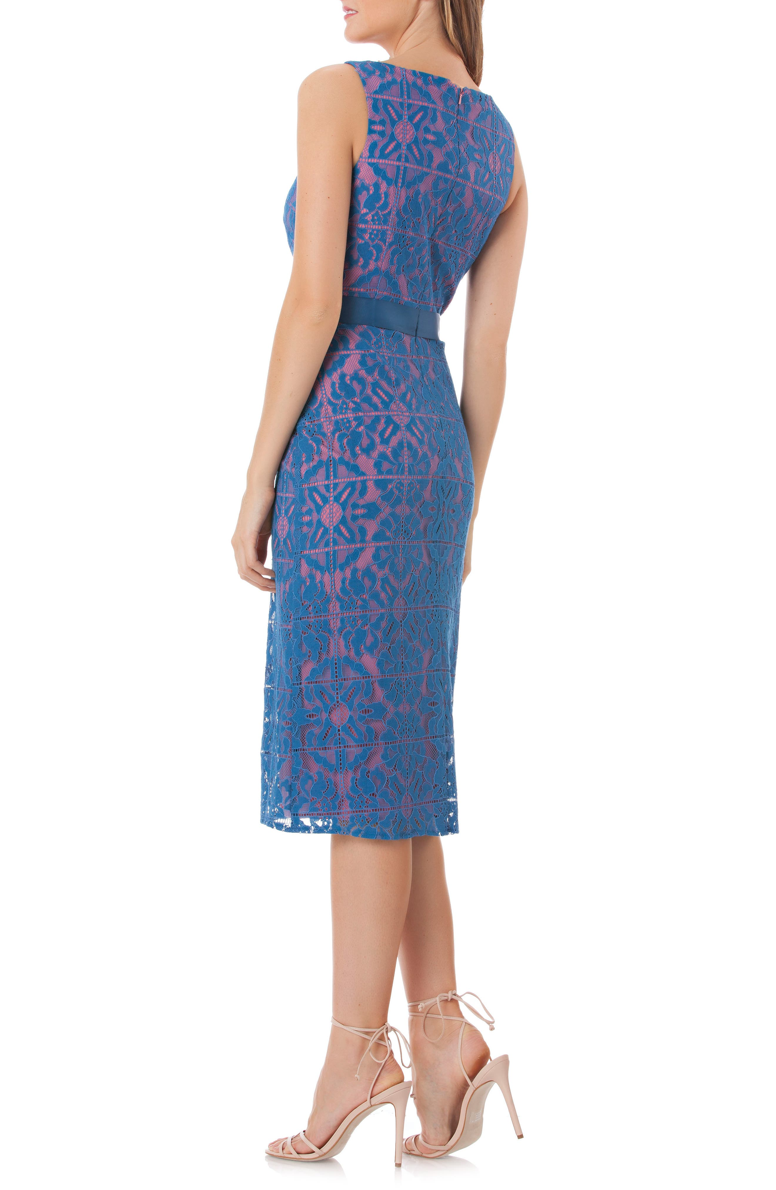 Lace Sheath Dress,                             Alternate thumbnail 2, color,                             CARIBBEAN BLUE