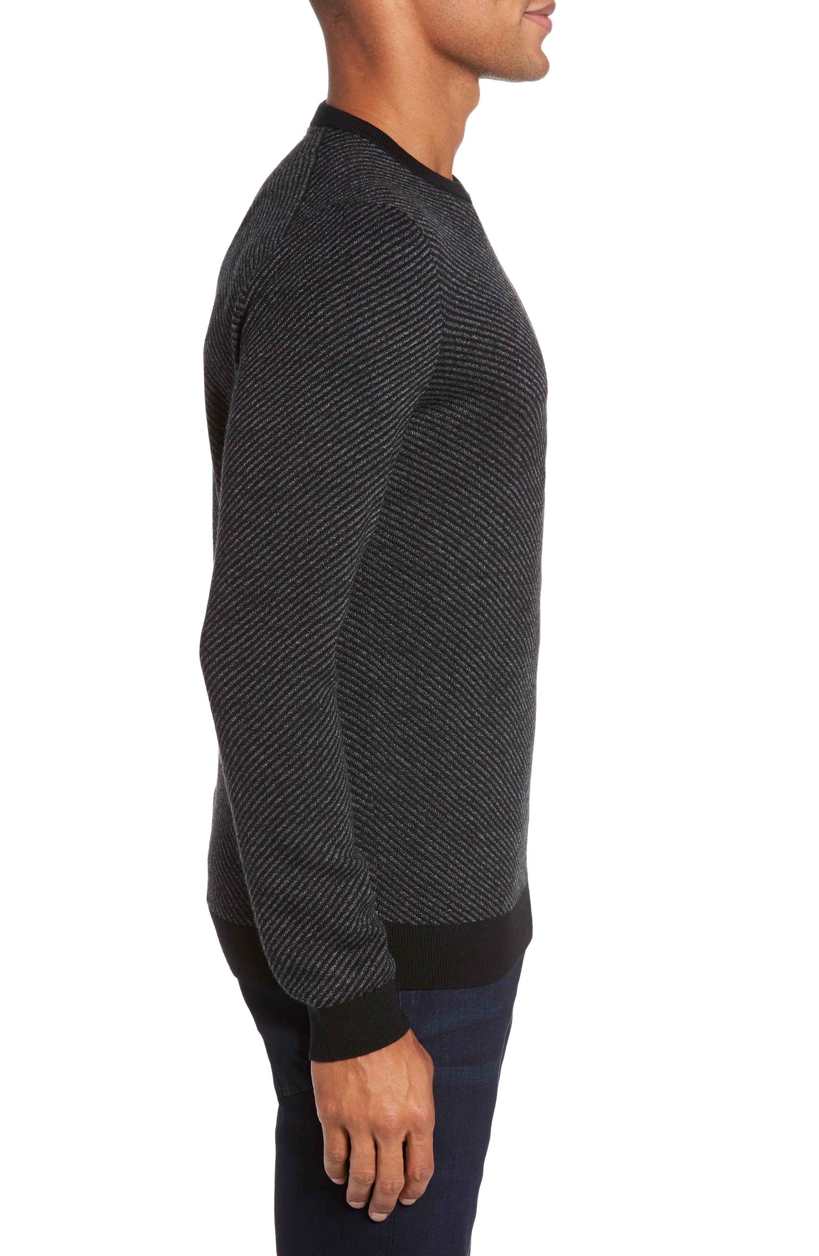 Cinamon Interest Stitch Crewneck Sweater,                             Alternate thumbnail 3, color,                             001