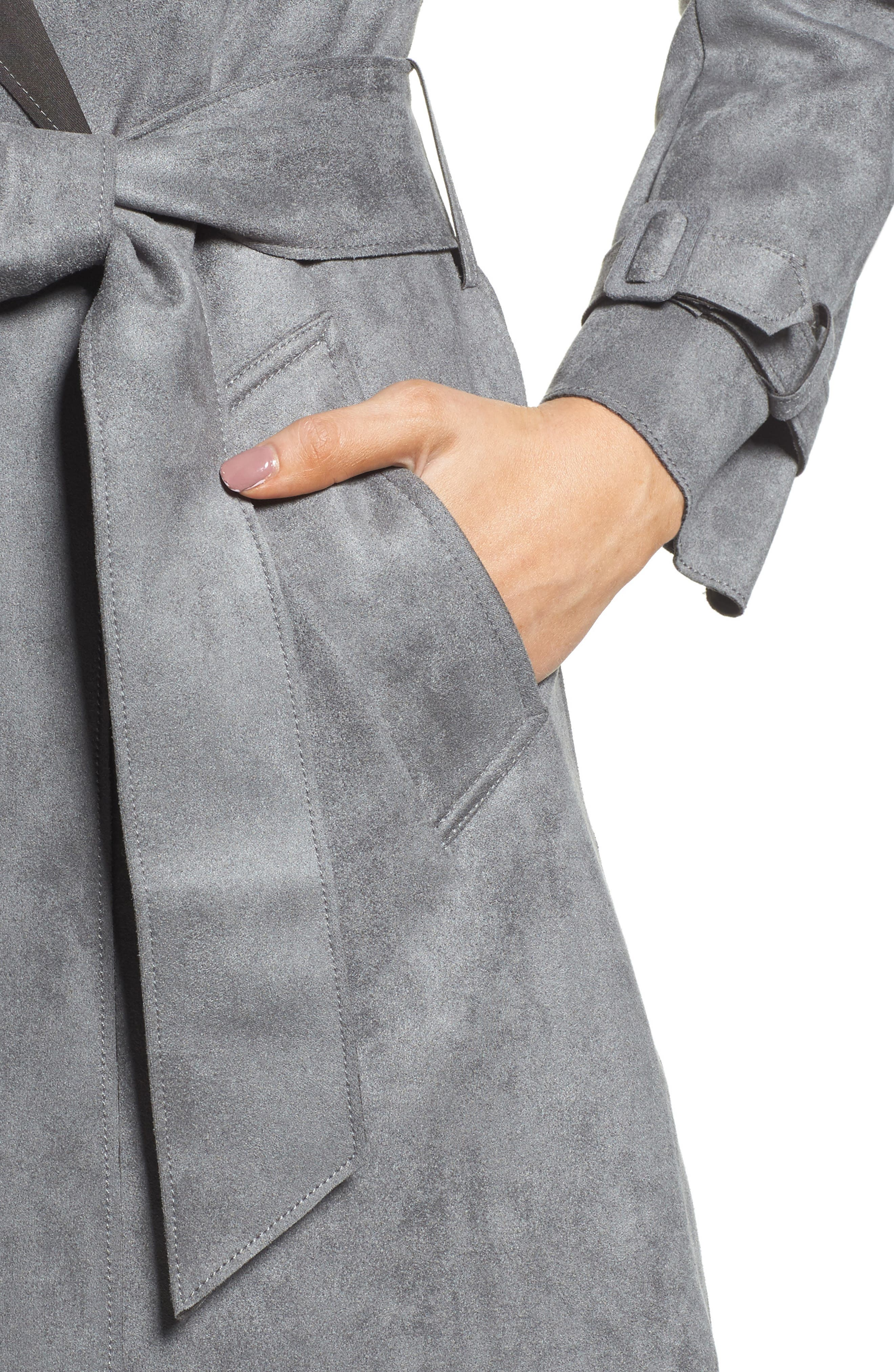 Faux Suede Long Trench Coat,                             Alternate thumbnail 4, color,                             030