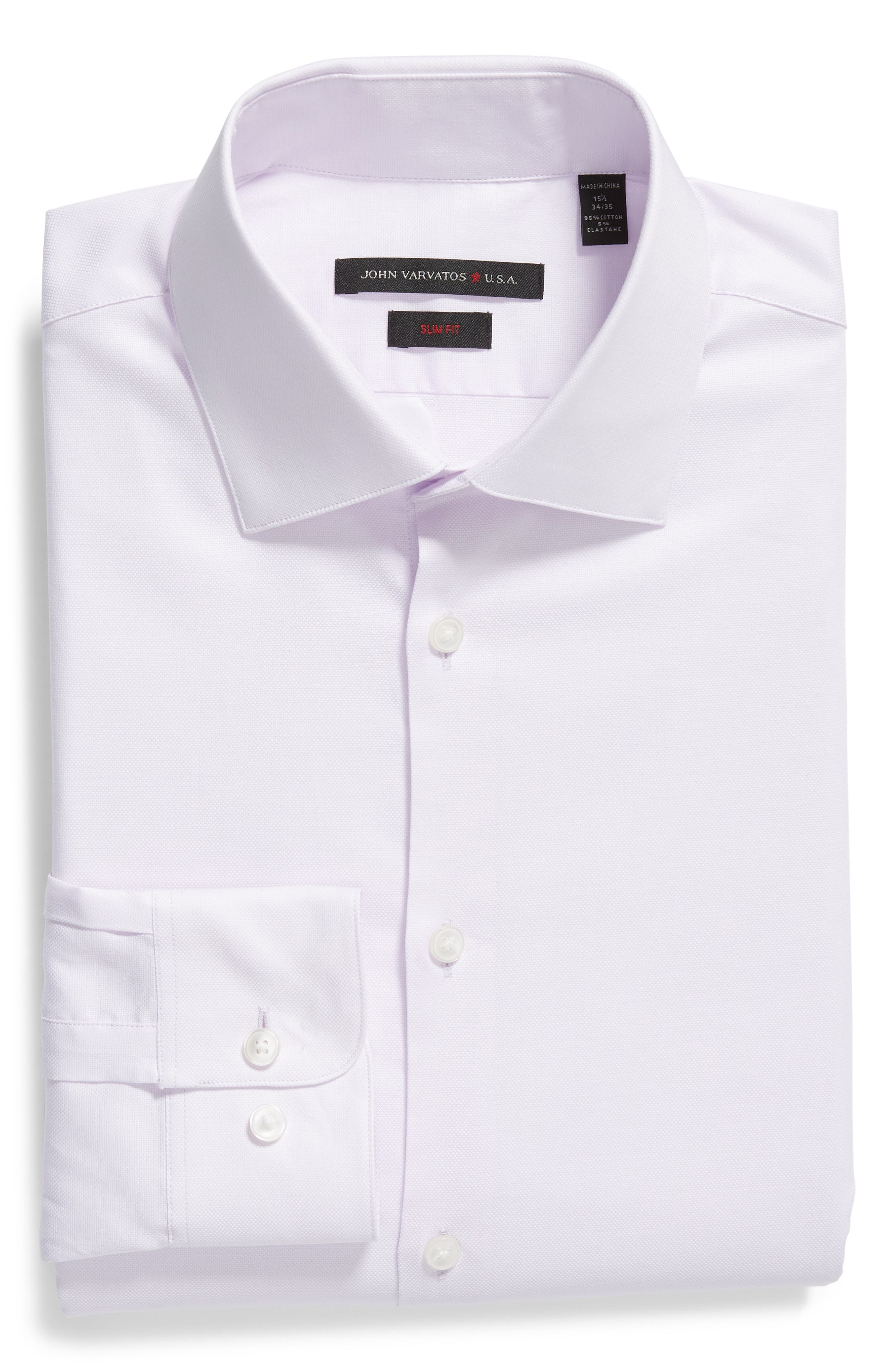 Slim Fit Check Dress Shirt,                             Alternate thumbnail 5, color,                             LAVENDER