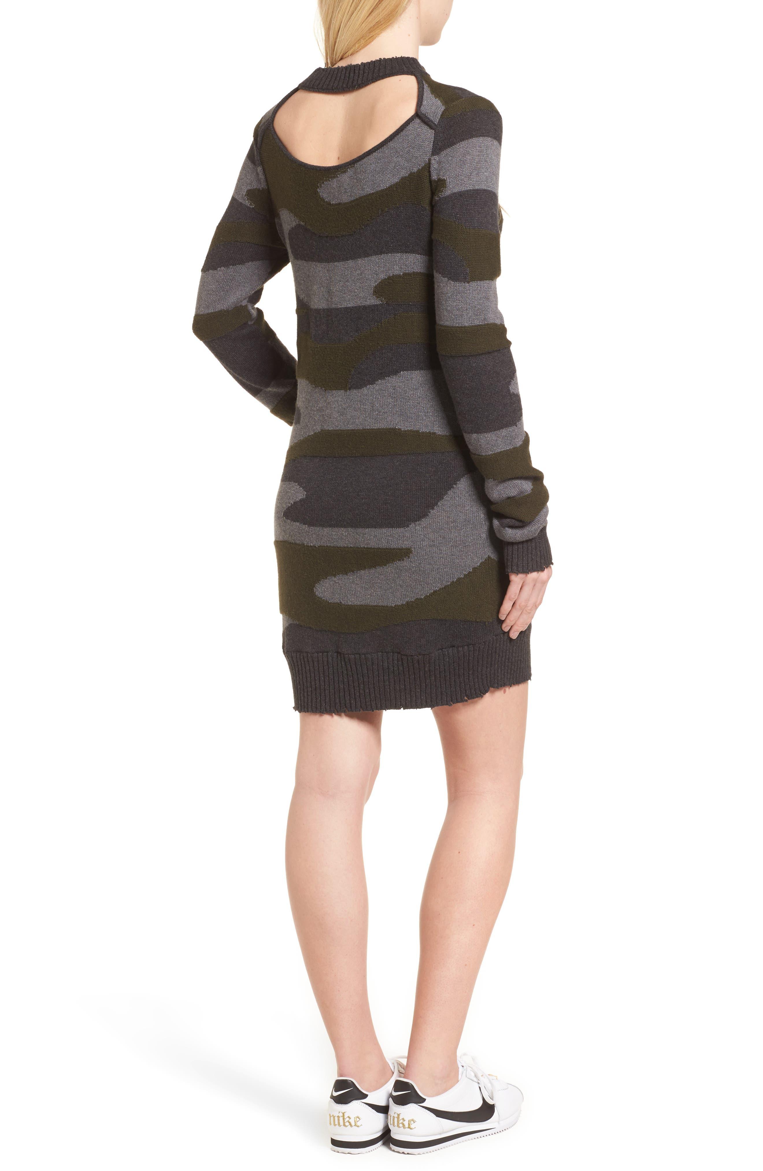 Camo Sweater Dress,                             Alternate thumbnail 2, color,                             313