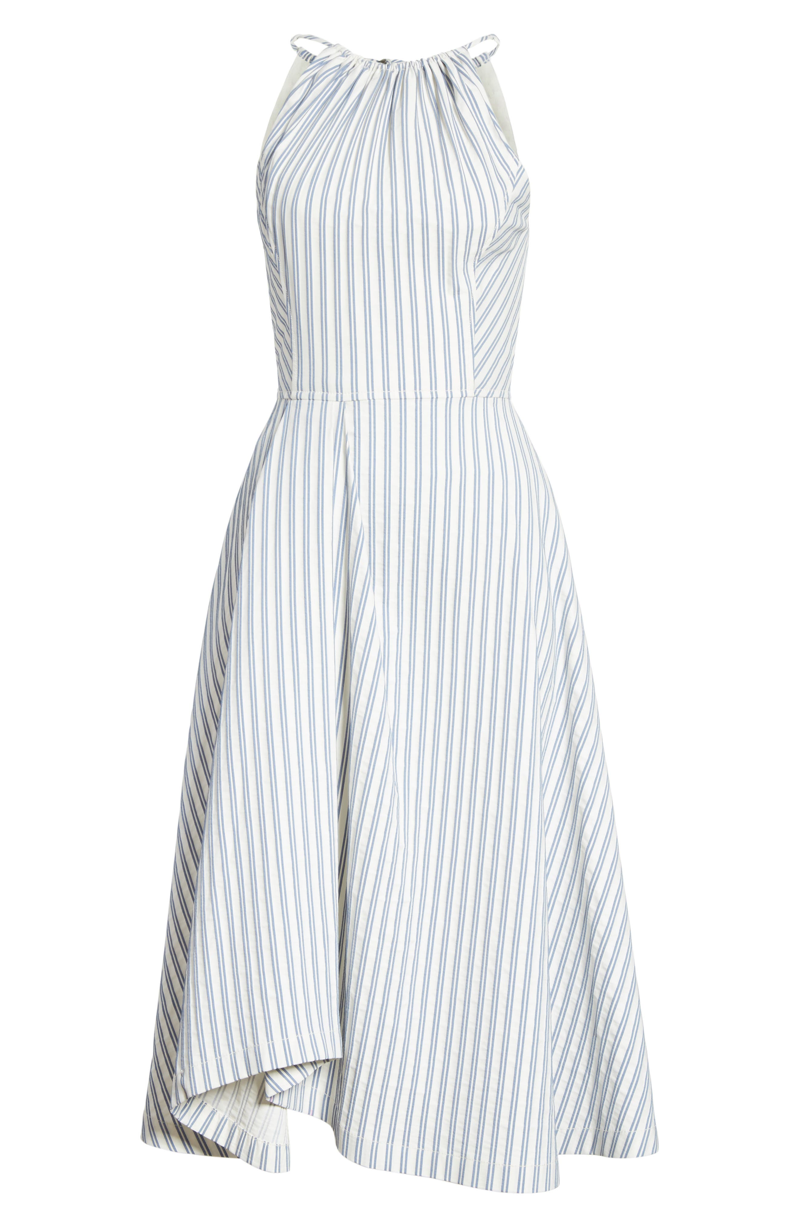 Stripe Shirting Apron Day Dress,                             Alternate thumbnail 6, color,                             453