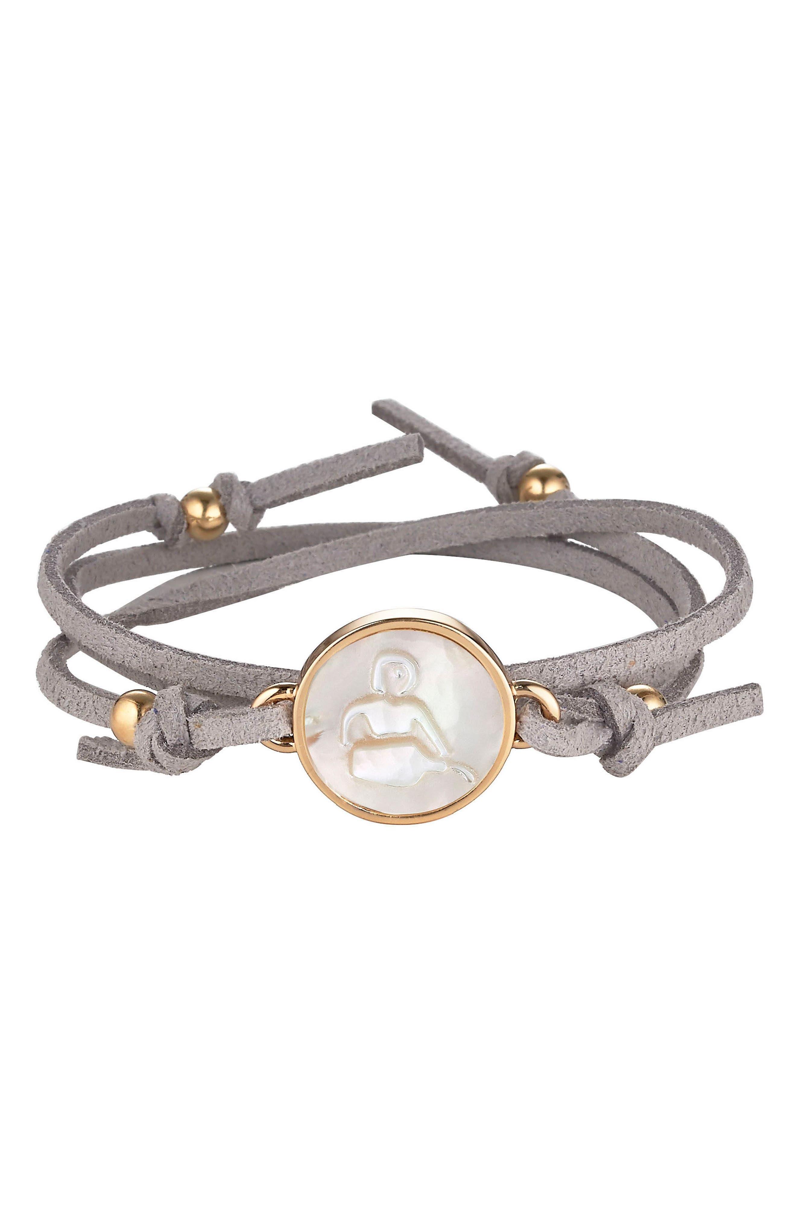 Zodiac Suede Wrap Bracelet,                             Main thumbnail 1, color,                             AQUARIUS/ GREY