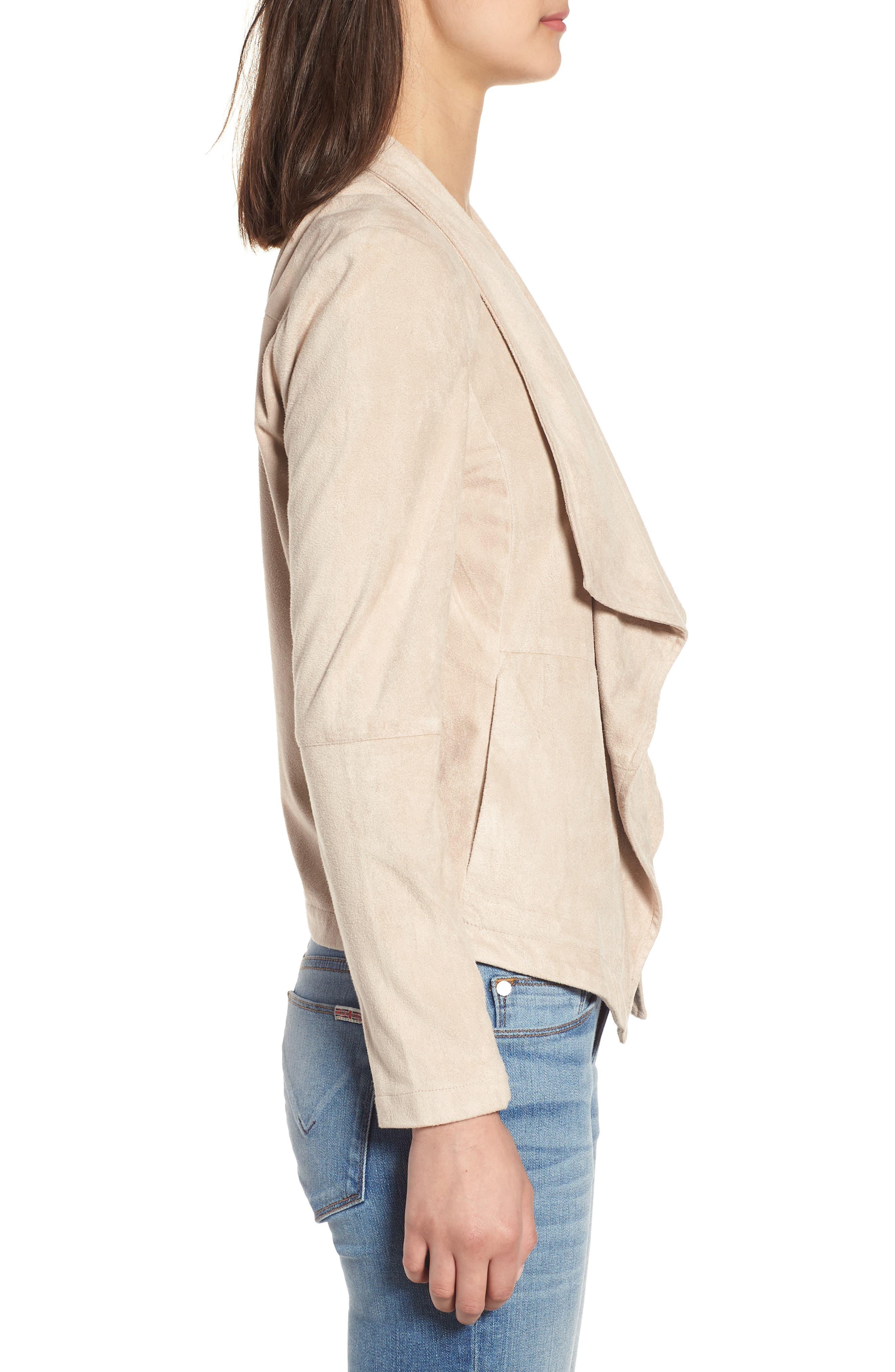 Nicholson Faux Suede Drape Front Jacket,                             Alternate thumbnail 3, color,                             BONE