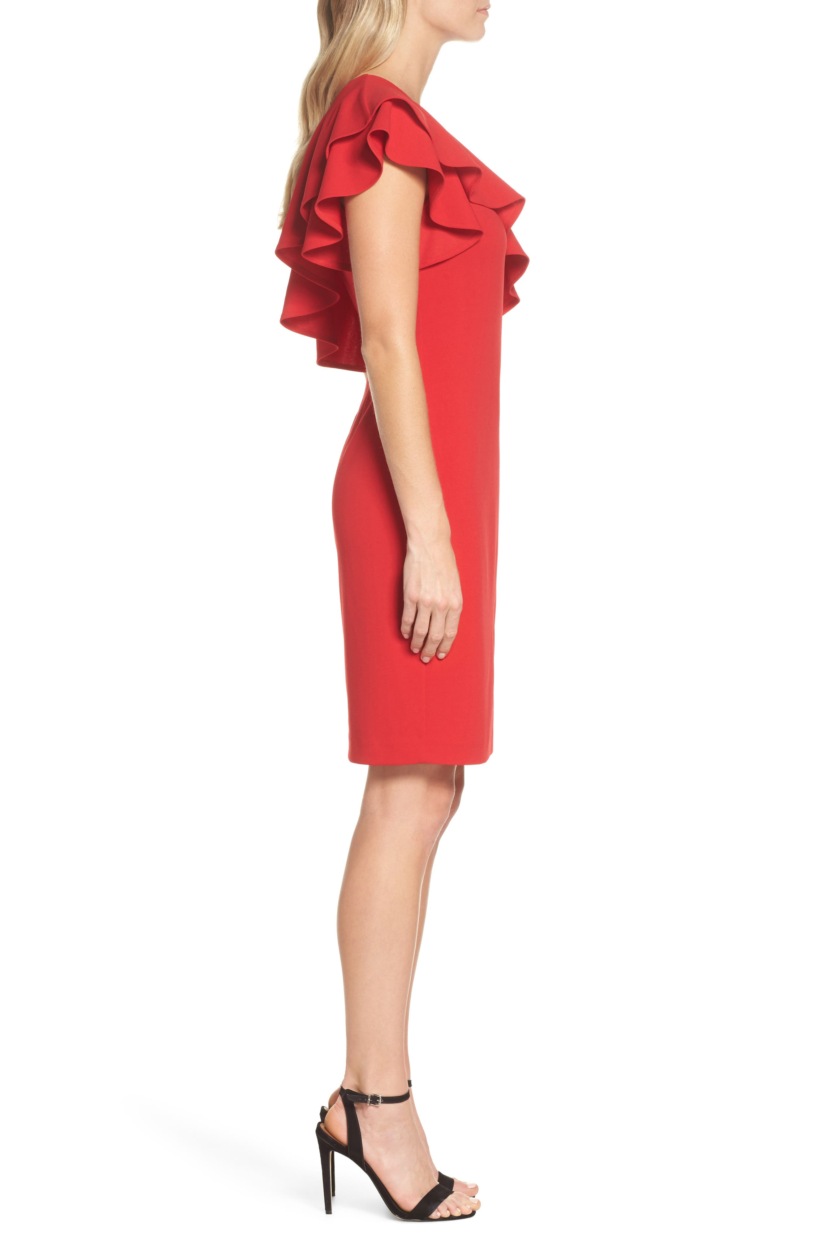 One-Shoulder Ruffle Dress,                             Alternate thumbnail 6, color,