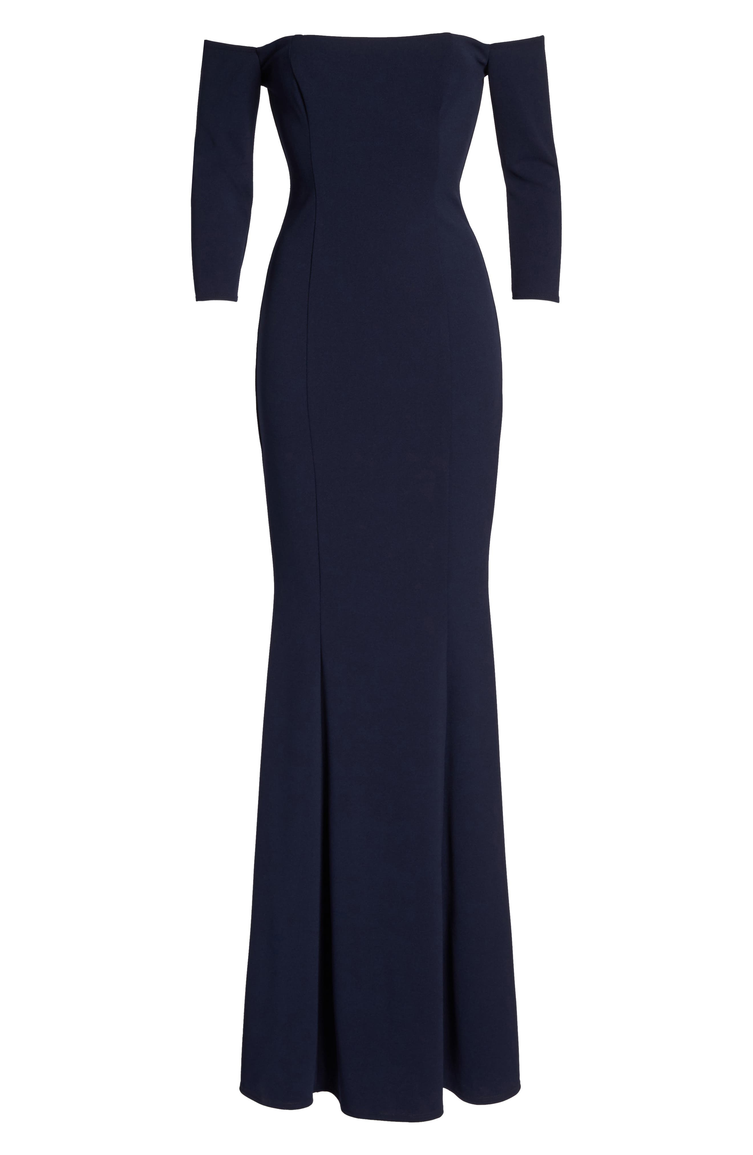 Brentwood Three-Quarter Sleeve Off the Shoulder Gown,                             Alternate thumbnail 6, color,                             NAVY