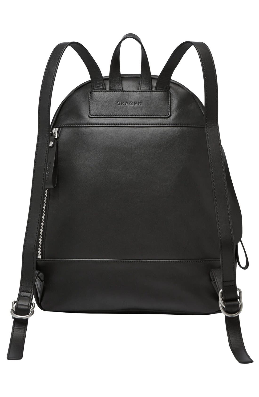 'Aften' Leather Backpack,                             Alternate thumbnail 3, color,                             001