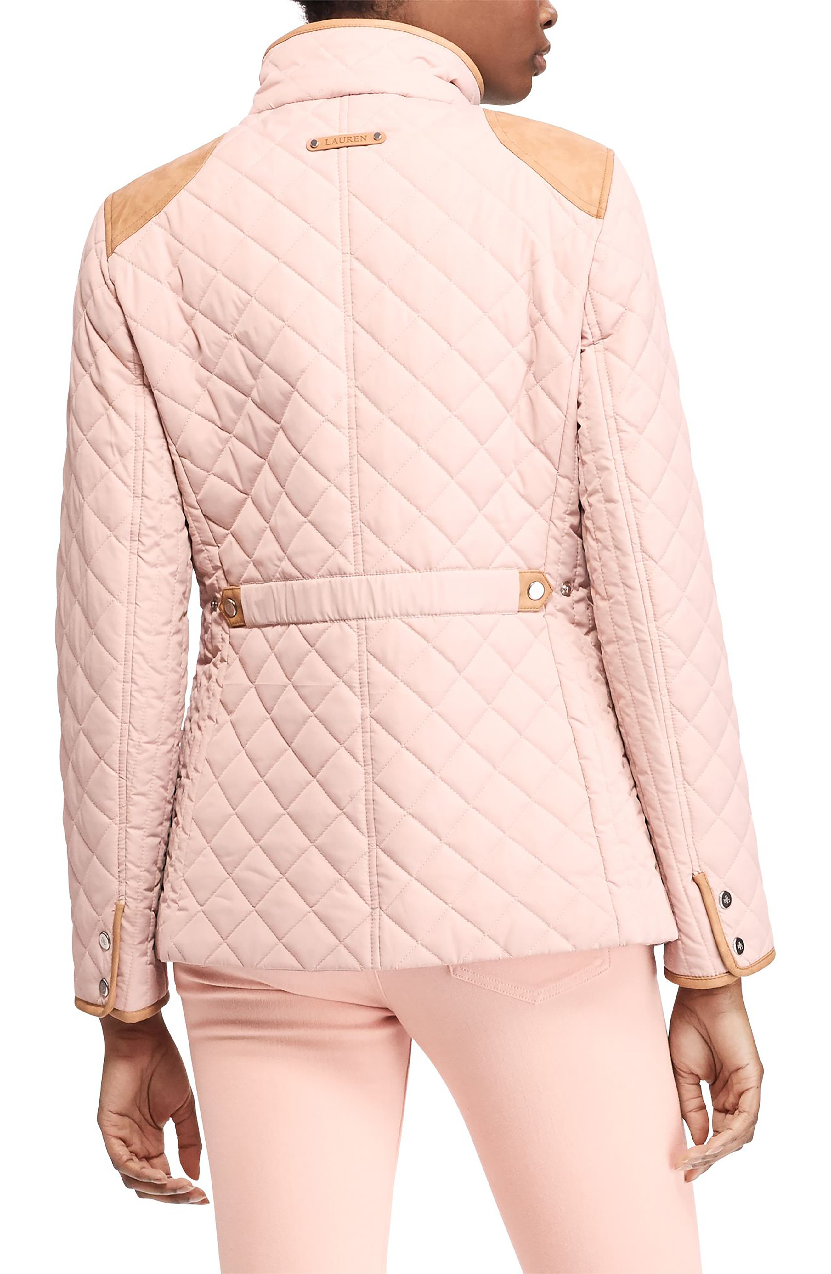 Faux Leather Trim Quilted Jacket,                             Alternate thumbnail 10, color,