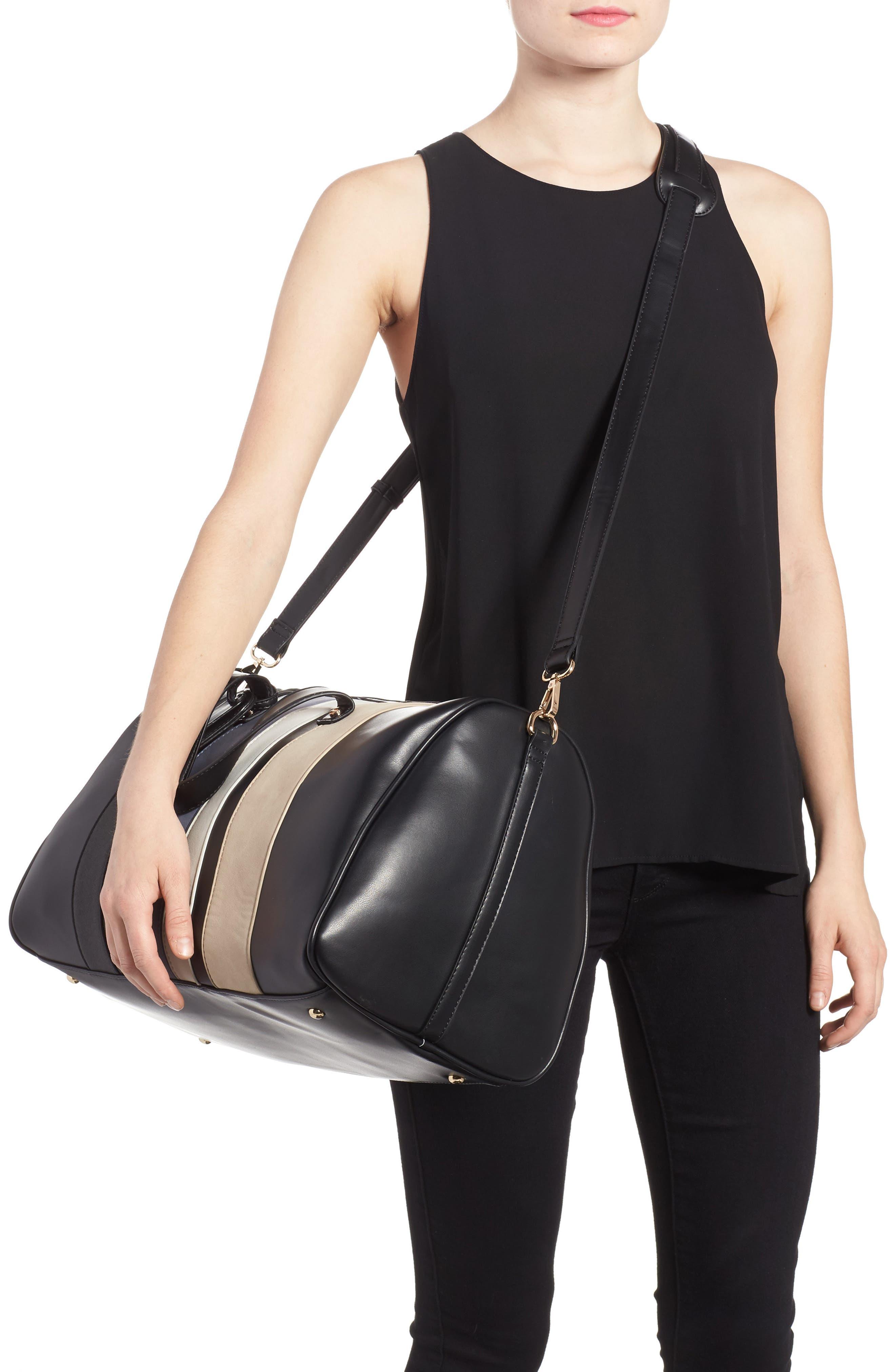Stripe Faux Leather Duffel Bag,                             Alternate thumbnail 2, color,                             001