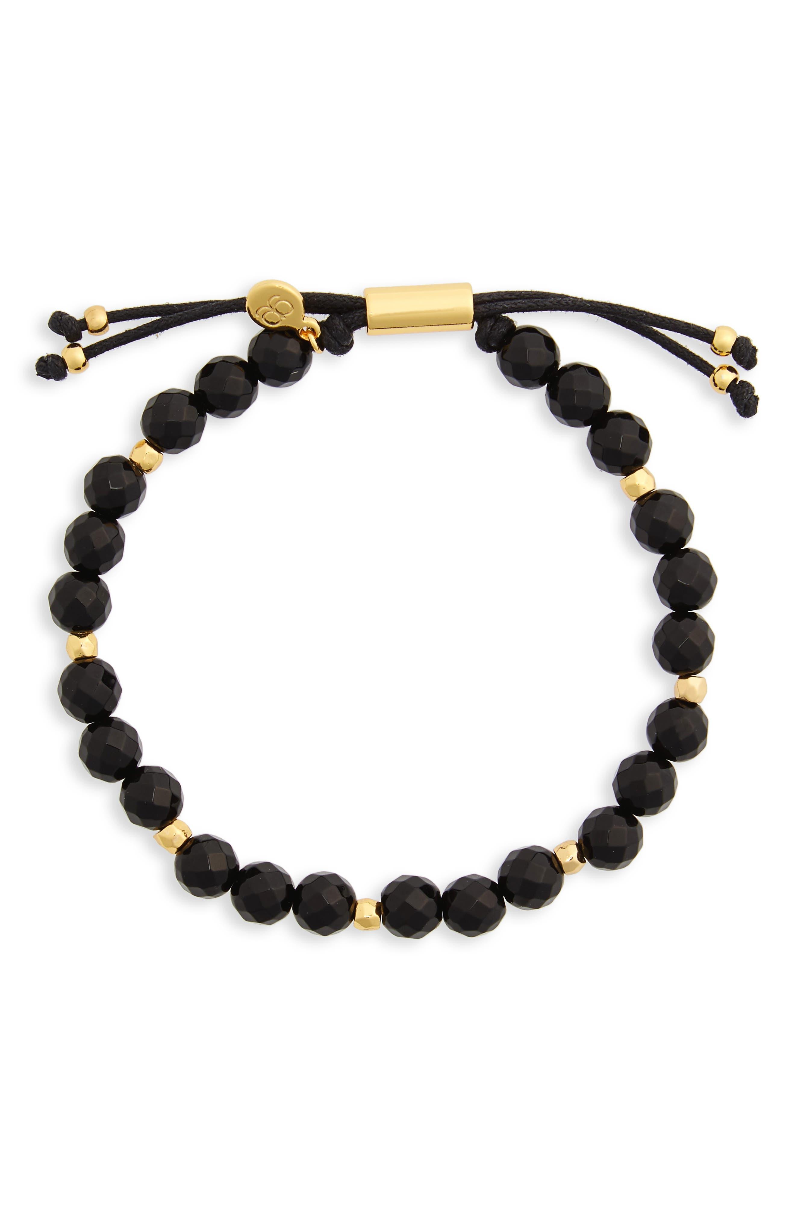 Power Gemstone Beaded Bracelet,                             Main thumbnail 1, color,                             BLACK ONYX / GOLD