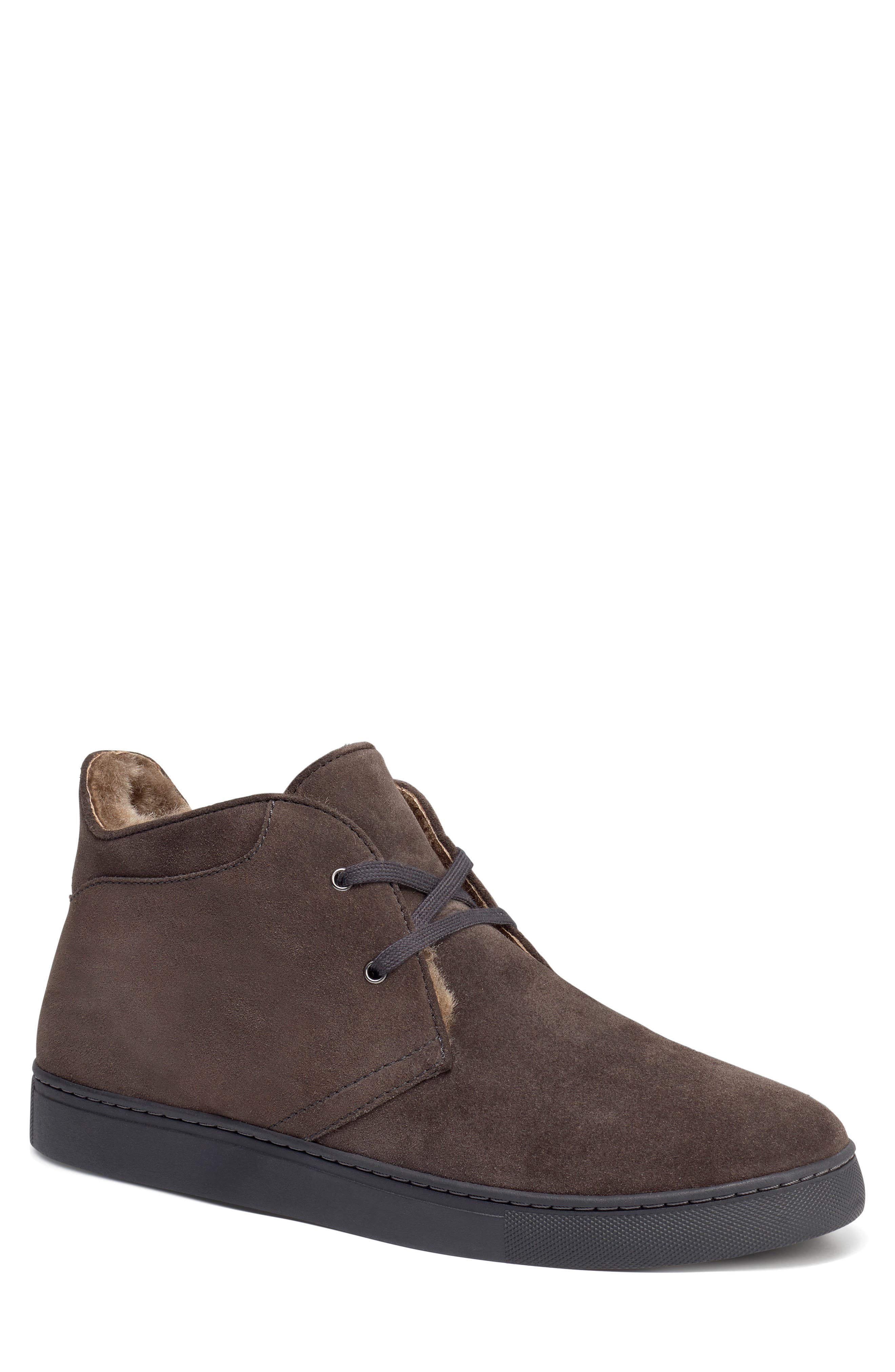 Ariston Genuine Shearling Chukka Boot,                             Main thumbnail 1, color,                             CHARCOAL SUEDE