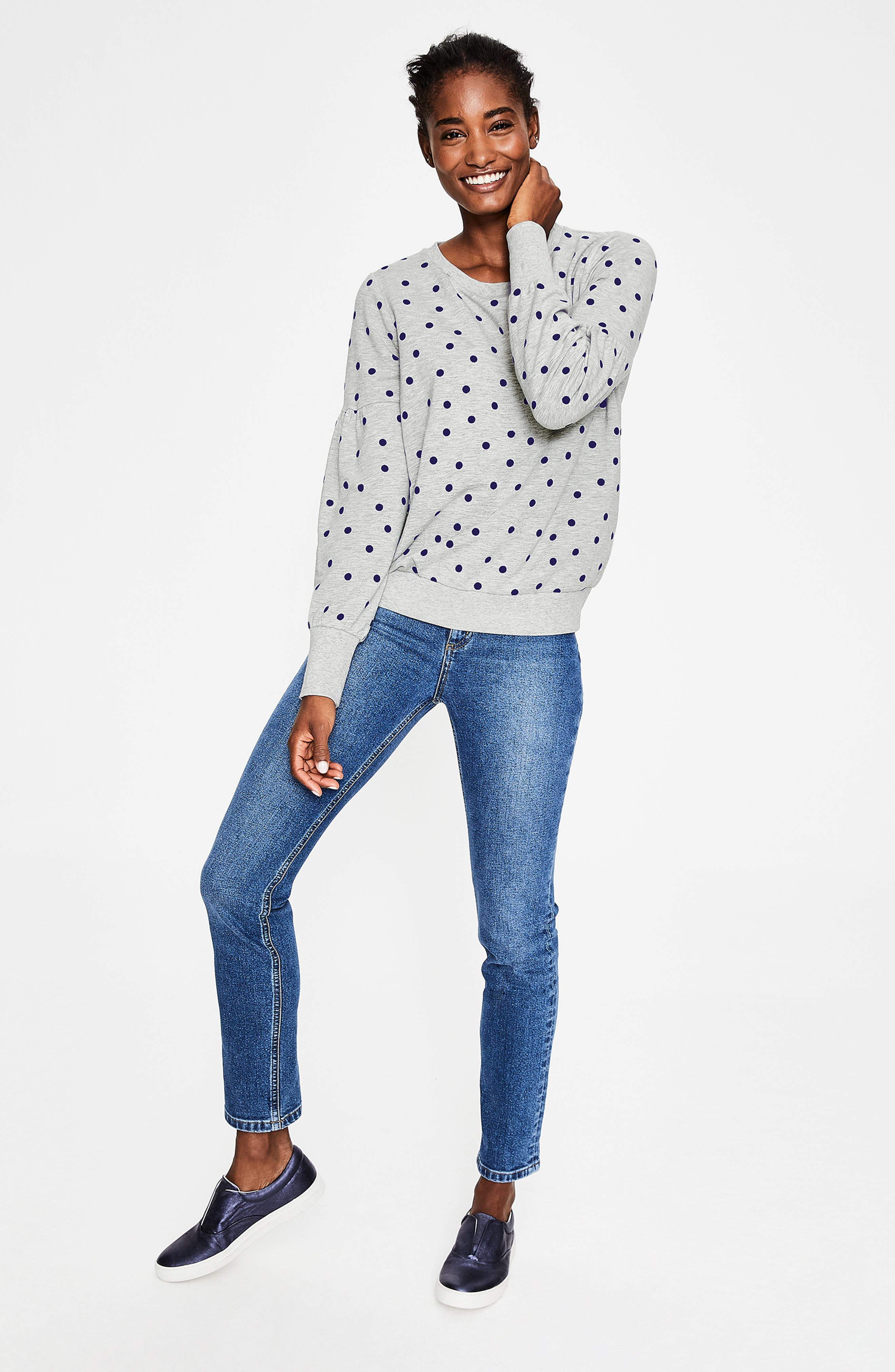 Renee Sweatshirt,                             Alternate thumbnail 6, color,                             GREY MARL FLOCKED SPOT