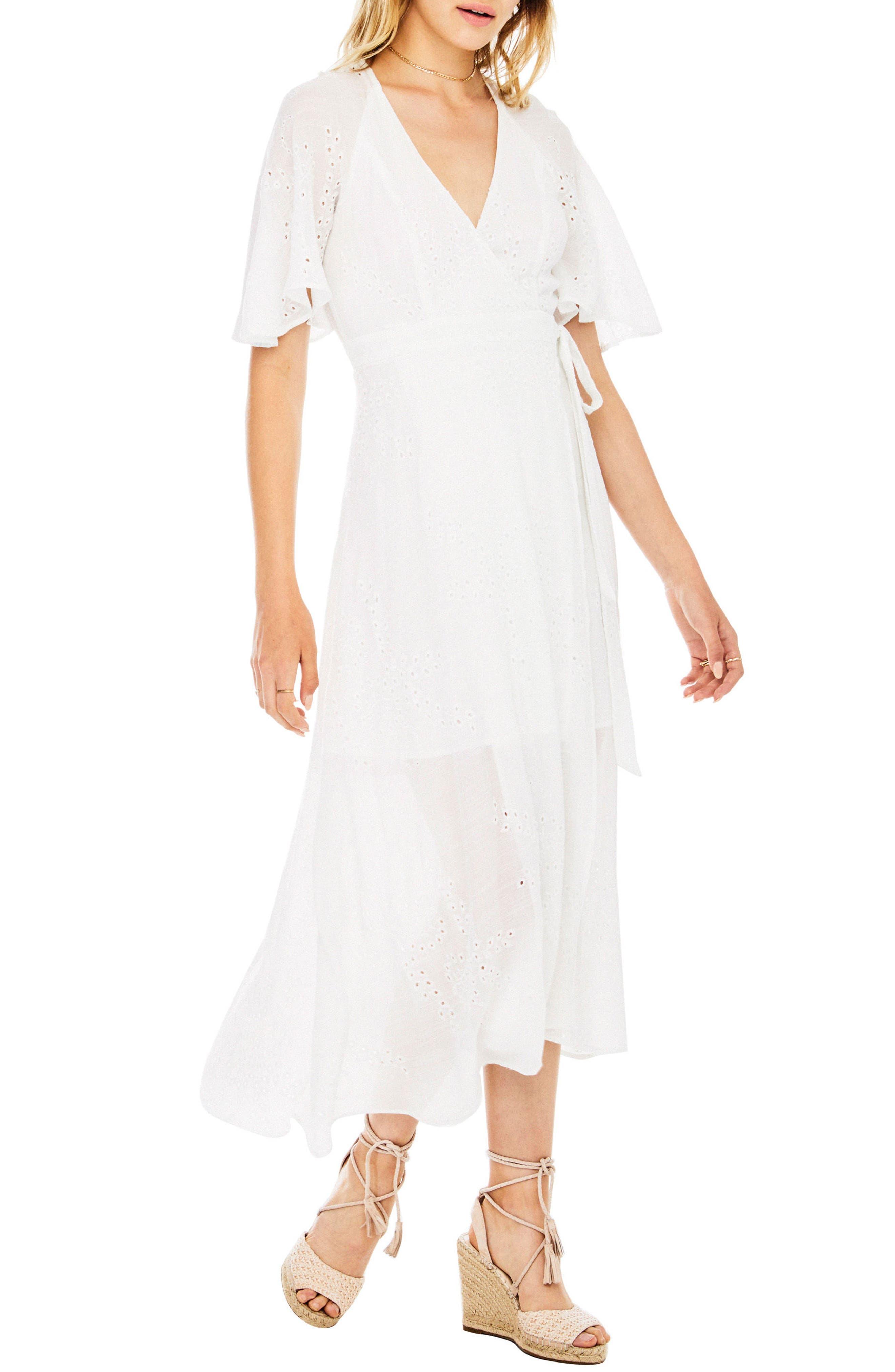 Gretchen Eyelet Wrap Dress,                             Alternate thumbnail 3, color,                             100