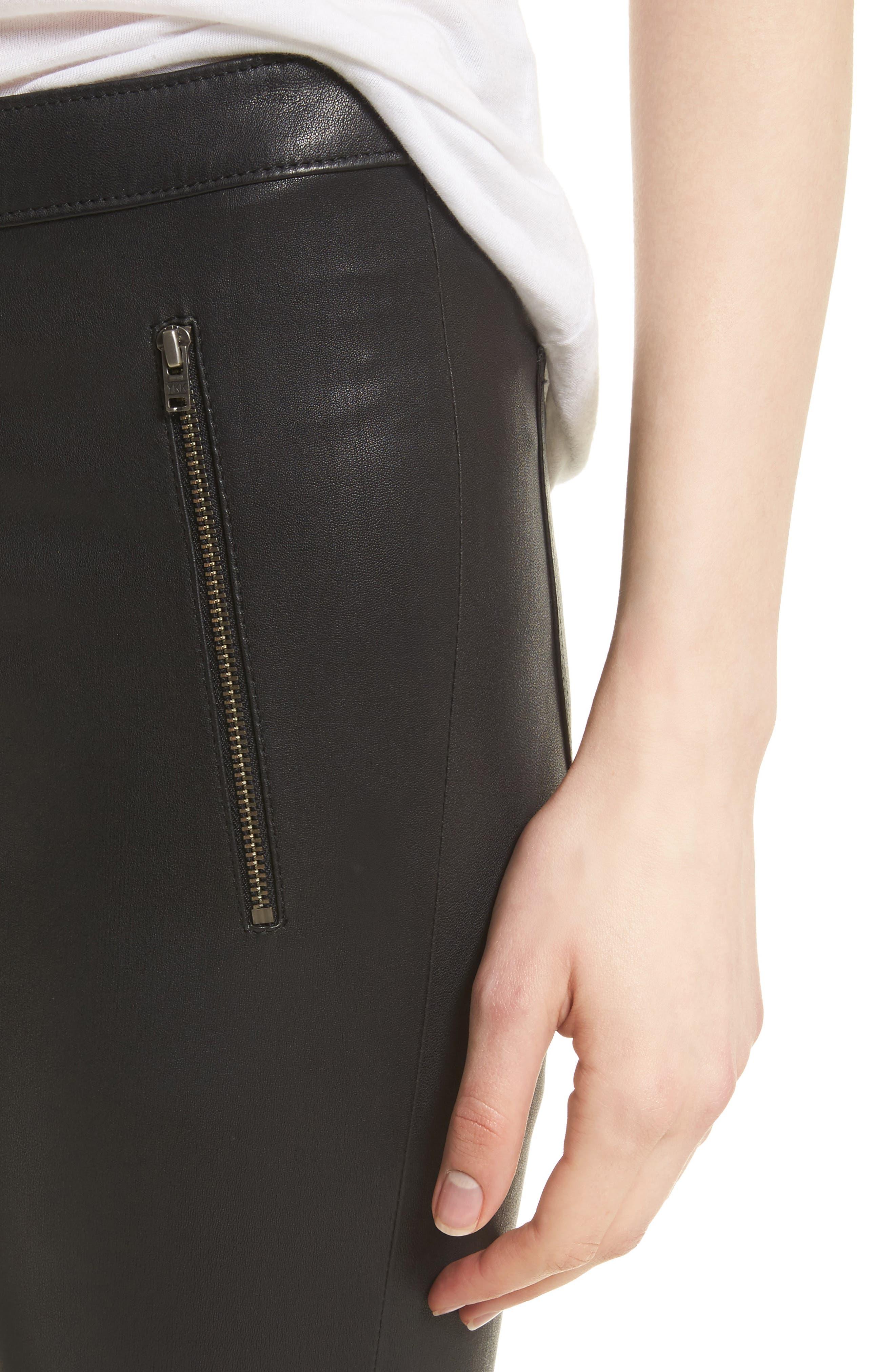 Darnella Leather Pants,                             Alternate thumbnail 4, color,                             002
