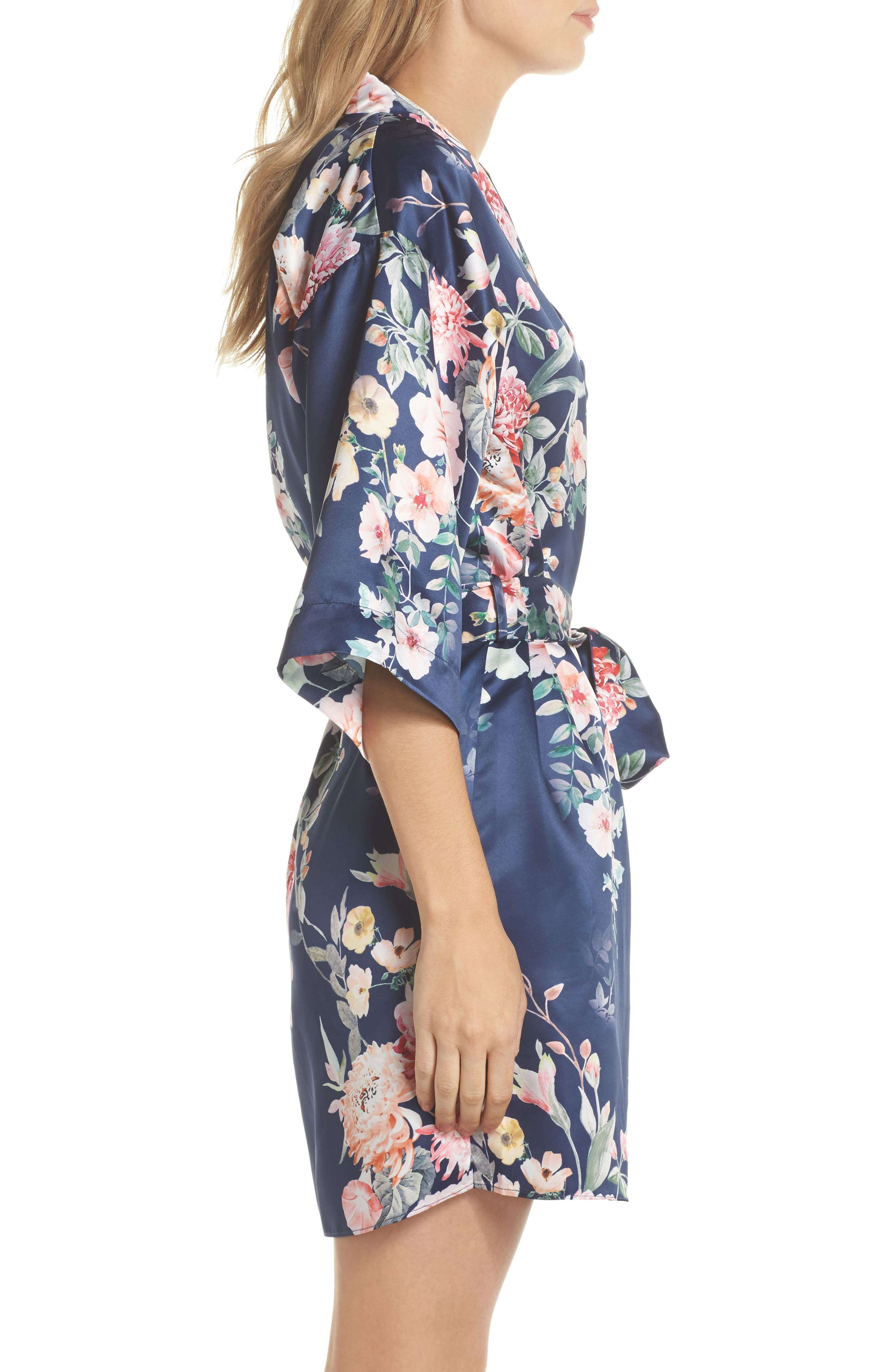 Renata Short Satin Robe,                             Alternate thumbnail 10, color,