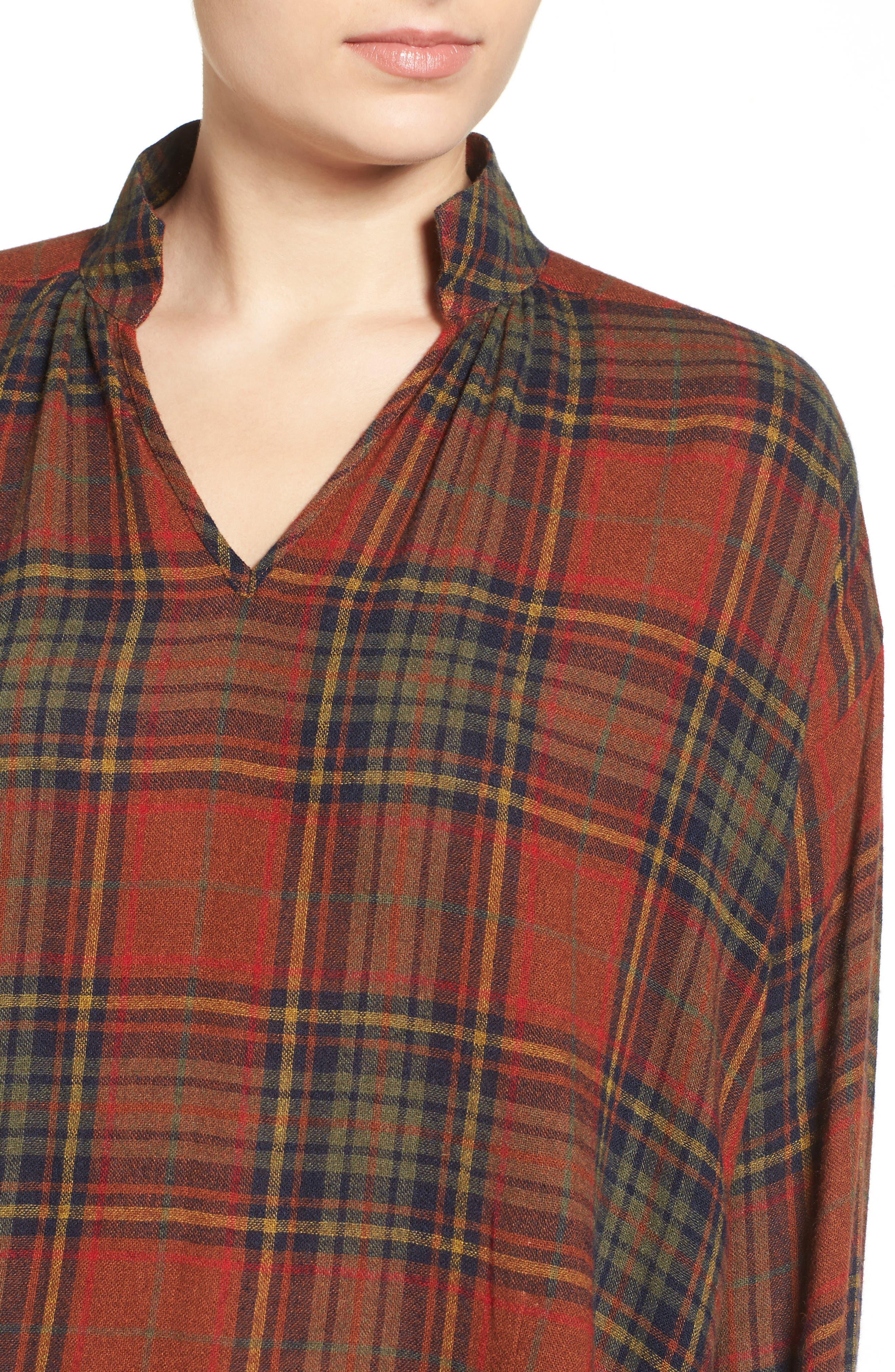 Highroad Plaid Popover Shirt,                             Alternate thumbnail 4, color,                             800