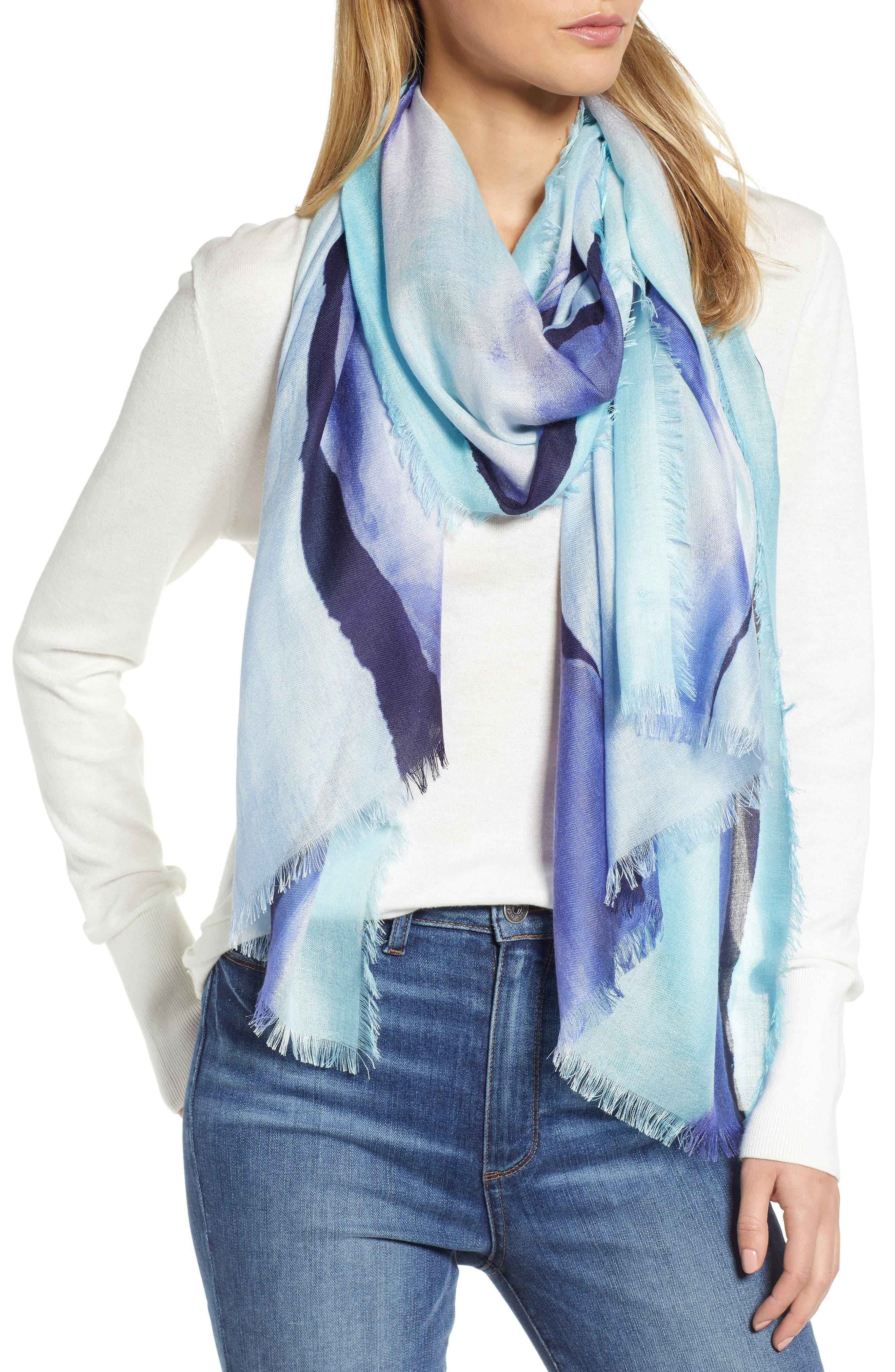 Eyelash Trim Print Cashmere & Silk Wrap, Main, color, BLUE PAINT STRIPE PRINT