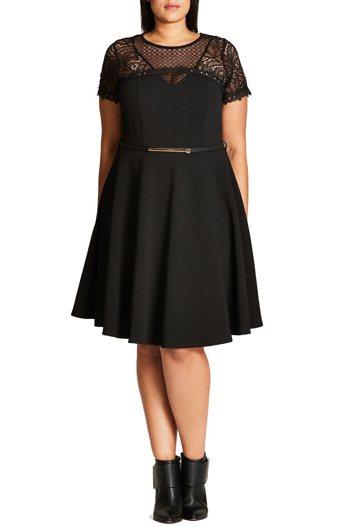 CITY CHIC Lace Fever Dress, Main, color, 001