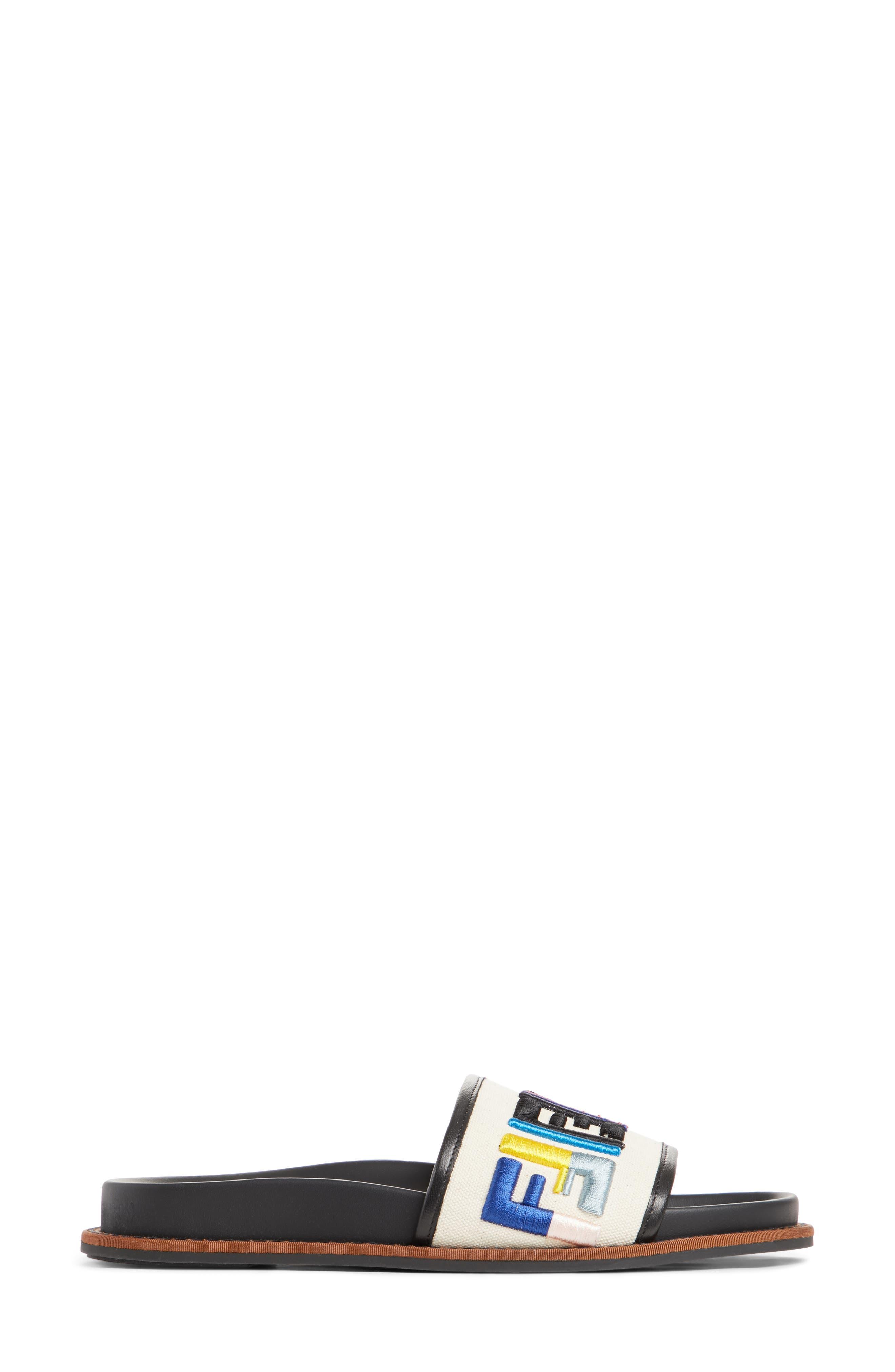 Fun Fendi Logo Slide Sandal,                             Alternate thumbnail 3, color,                             100