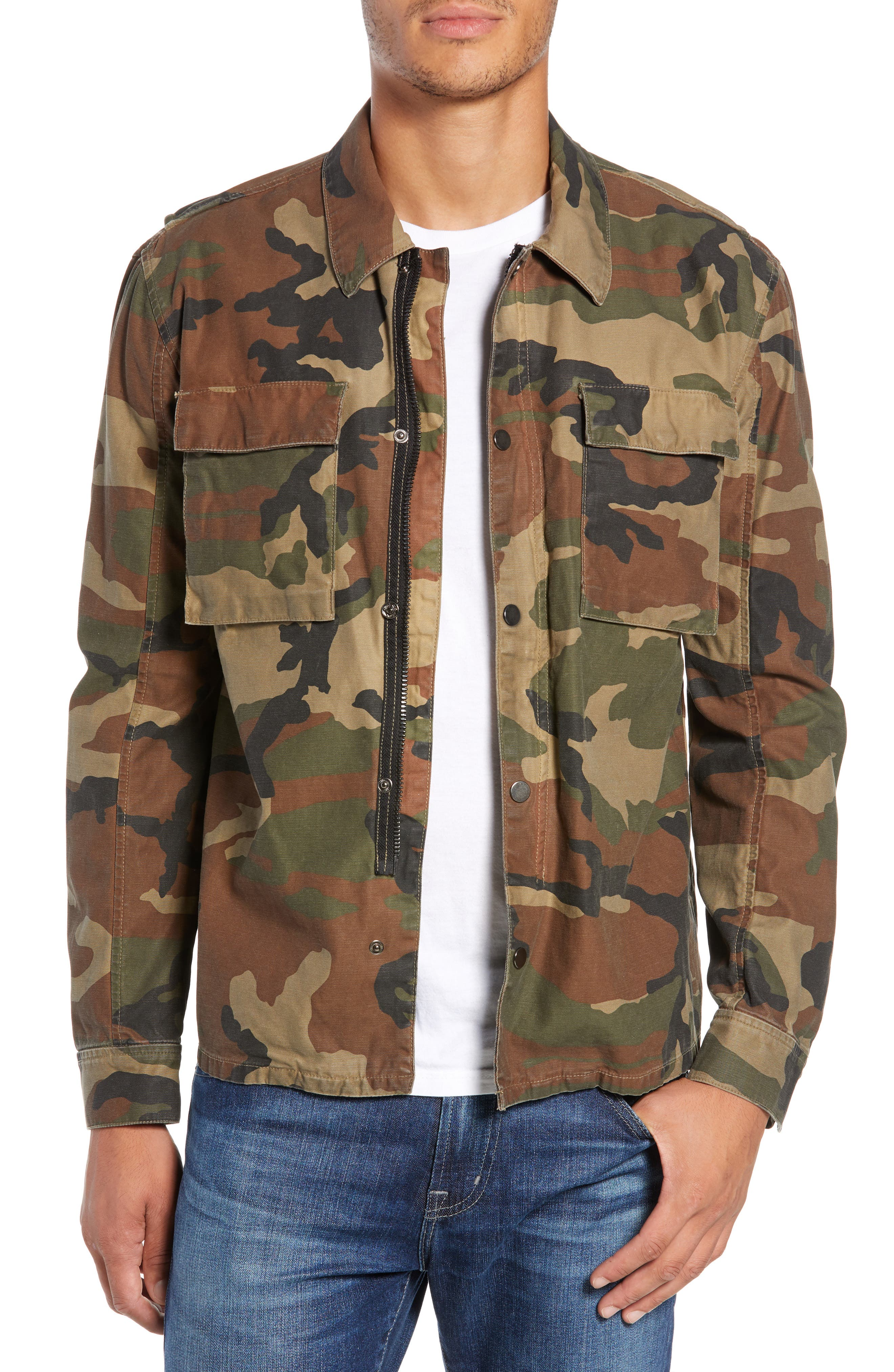 Wendell Slim Fit Camo Shirt Jacket,                         Main,                         color, 340