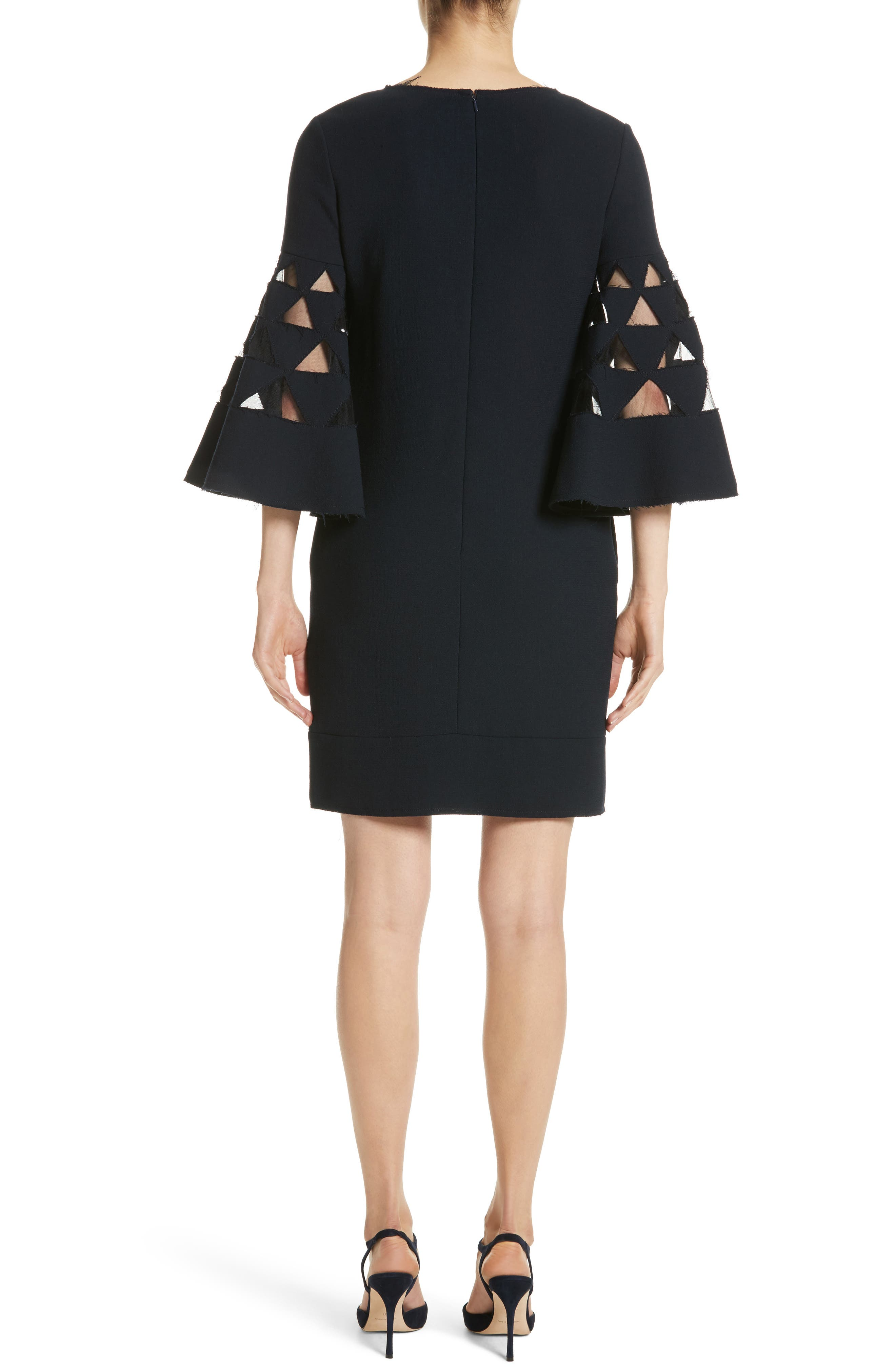 Cutout Bell Sleeve Stretch Wool Crepe Shift Dress,                             Alternate thumbnail 2, color,                             415