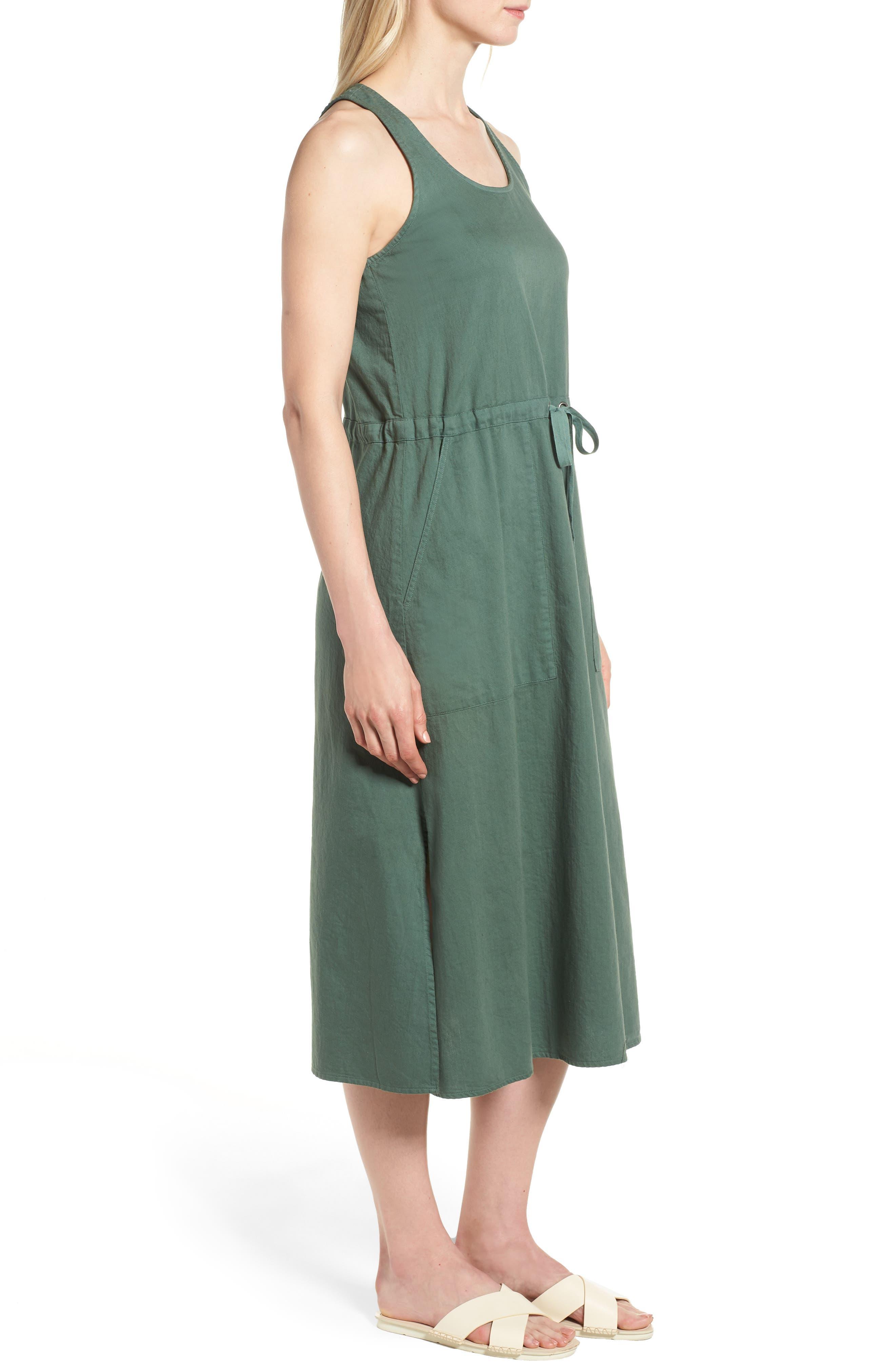 Drawstring Organic Cotton Midi Dress,                             Alternate thumbnail 12, color,