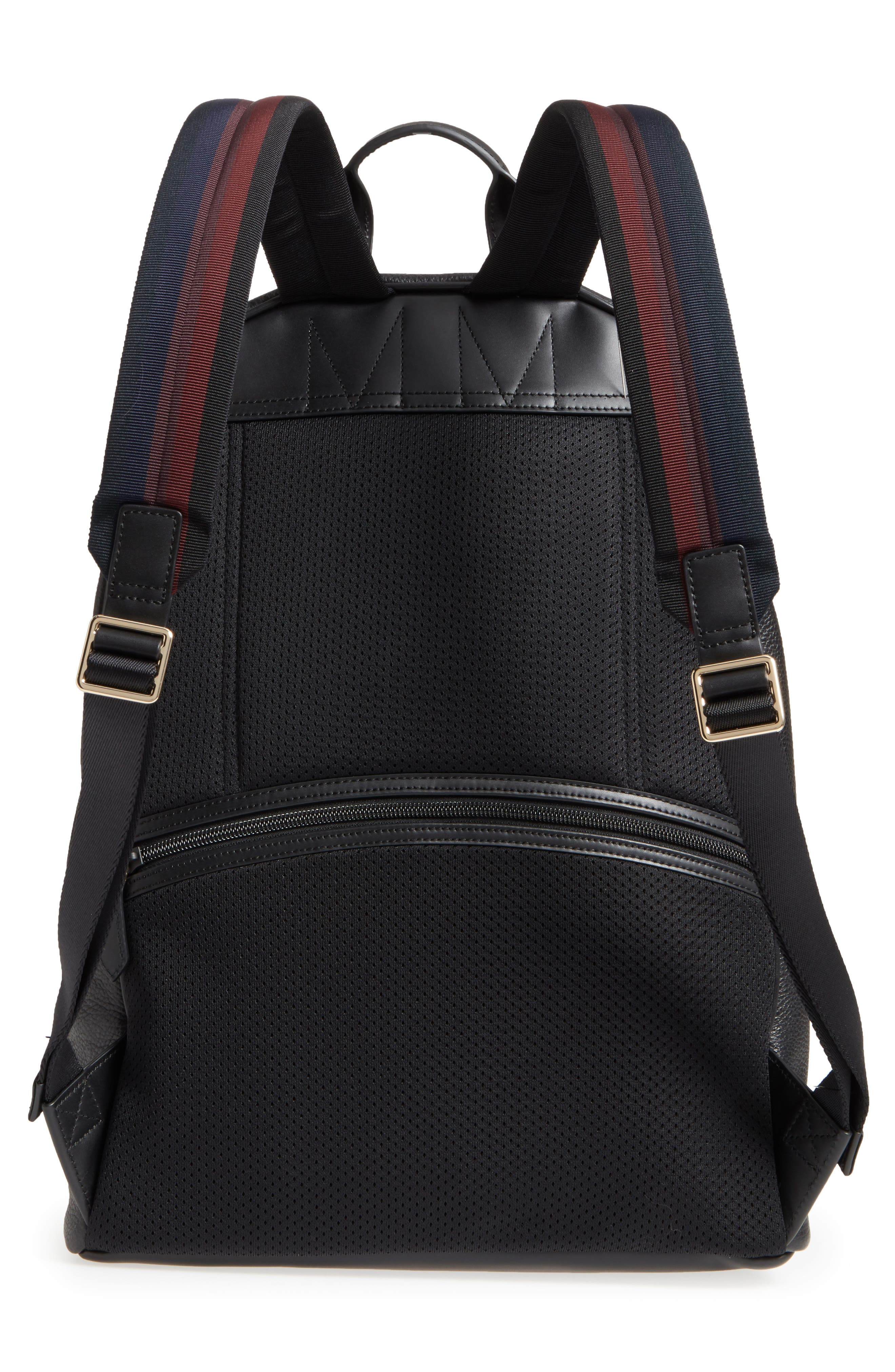City Webbing Leather Backpack,                             Alternate thumbnail 3, color,                             001