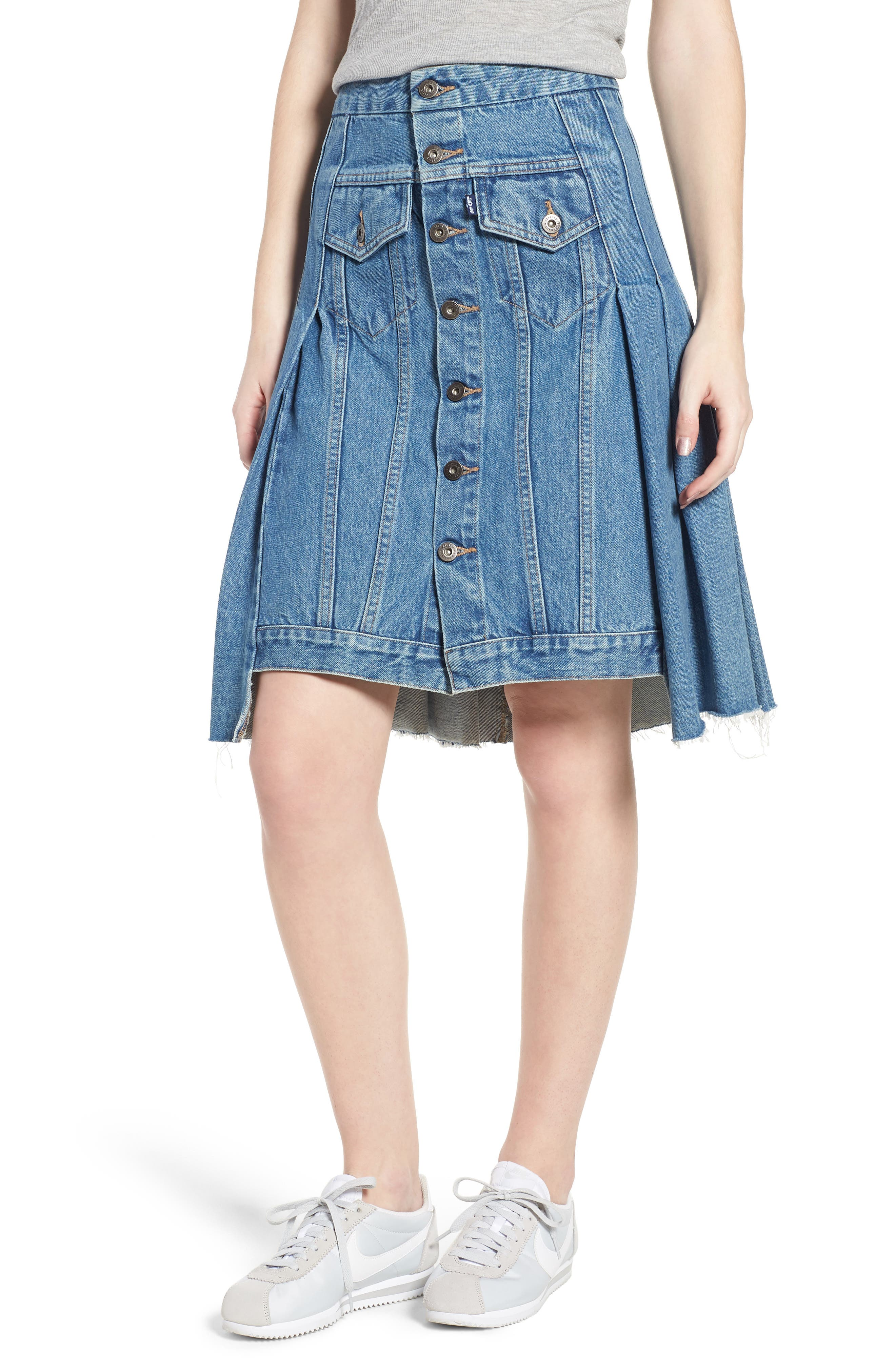 LEVI'S<SUP>®</SUP> MADE & CRAFTED<SUP>™</SUP>,                             Type III Pleated Denim Skirt,                             Main thumbnail 1, color,                             400