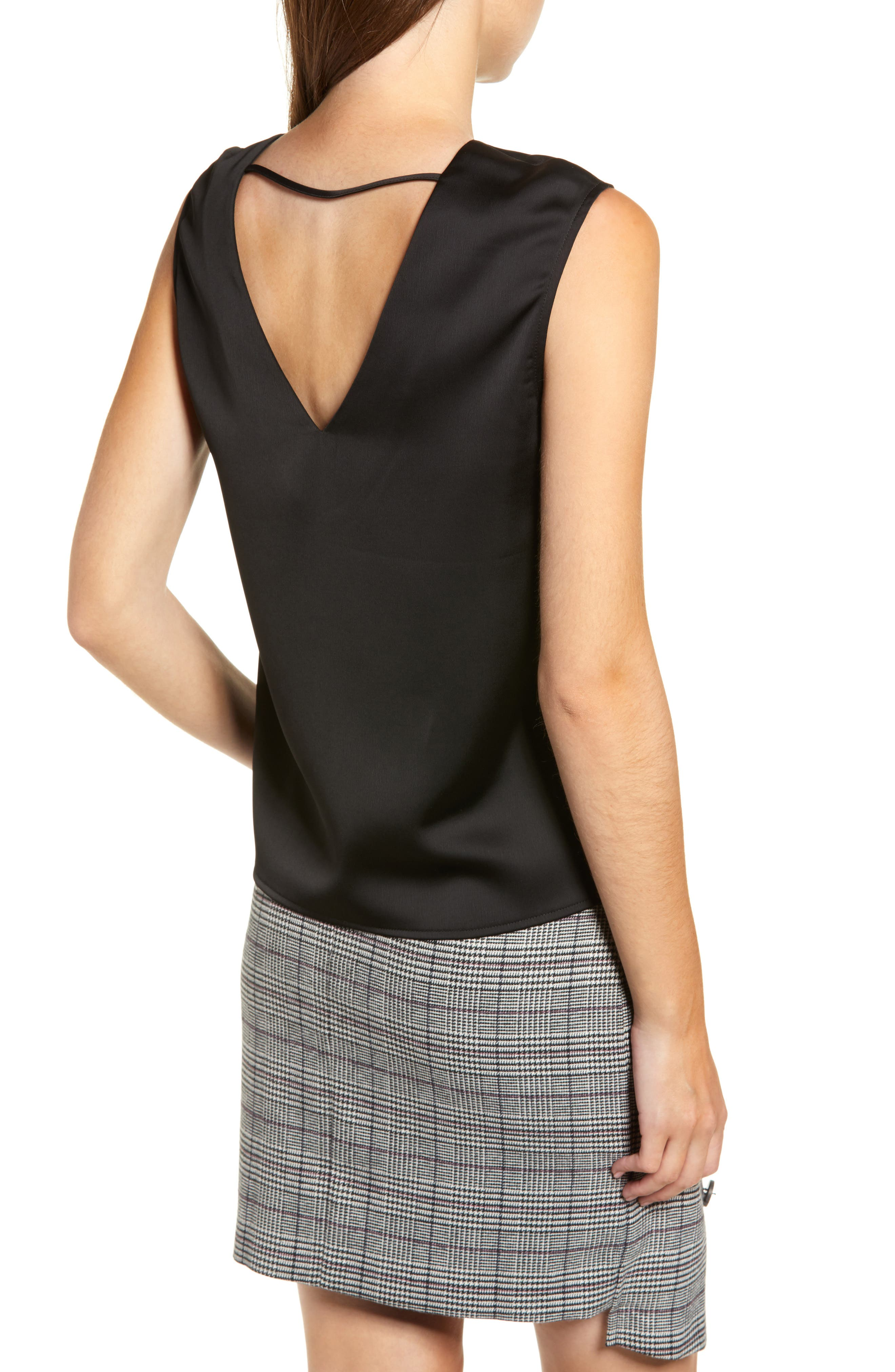 Chriselle Lim Veronica V-Neck Tank,                             Alternate thumbnail 3, color,                             001