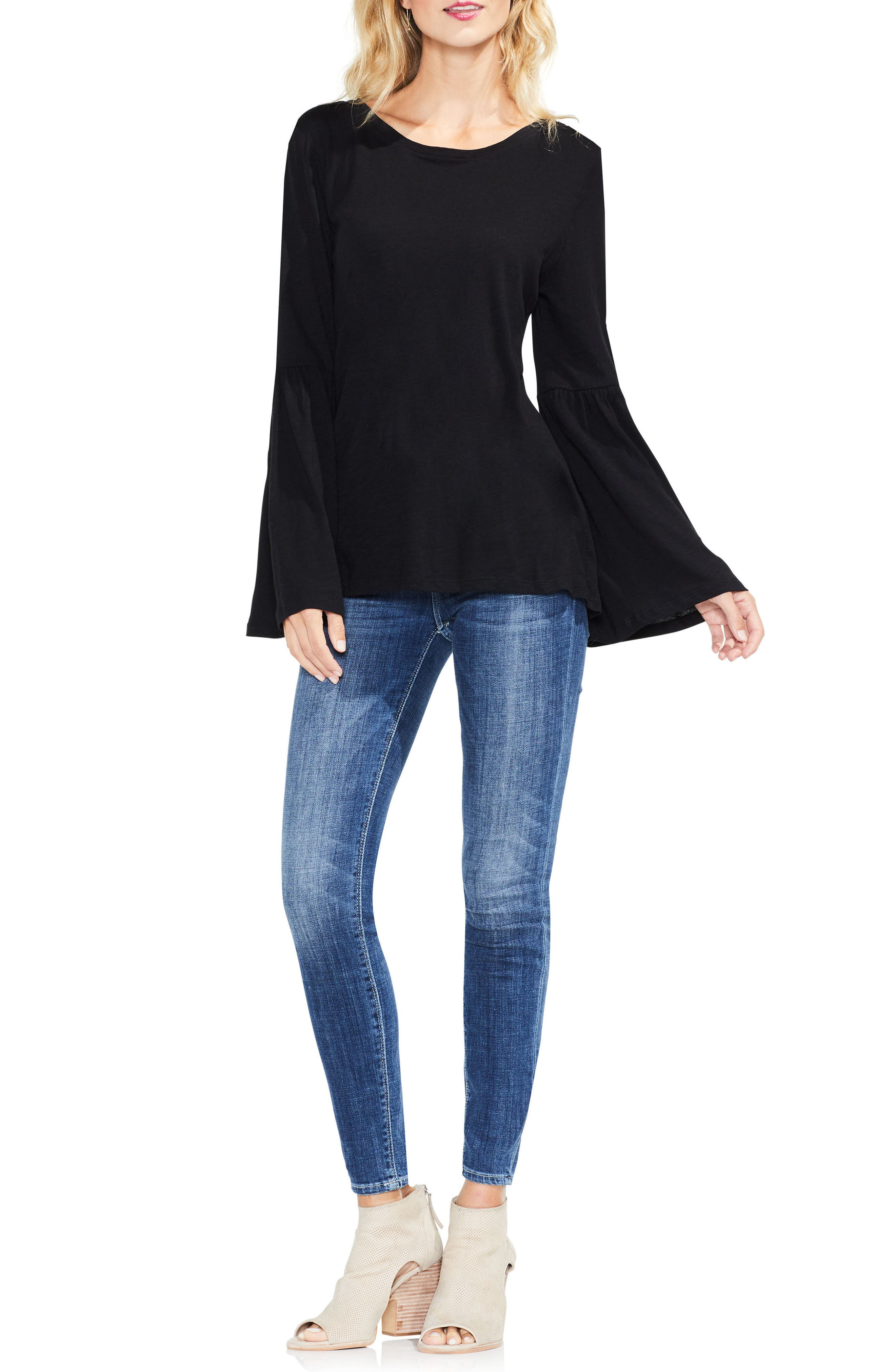 TWO BY VINCE CAMUTO,                             Bell Sleeve Cotton & Modal Top,                             Alternate thumbnail 3, color,                             006