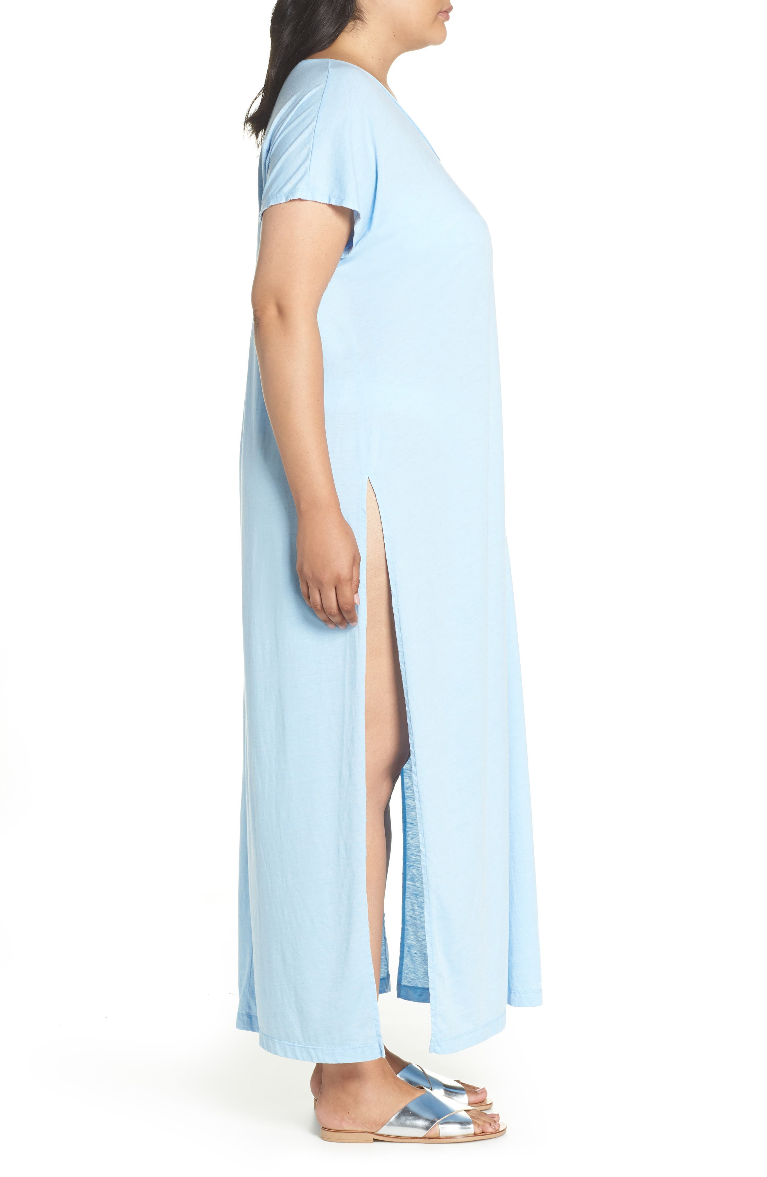 Henley Cover-Up Dress,                             Alternate thumbnail 3, color,                             BLUE BELL