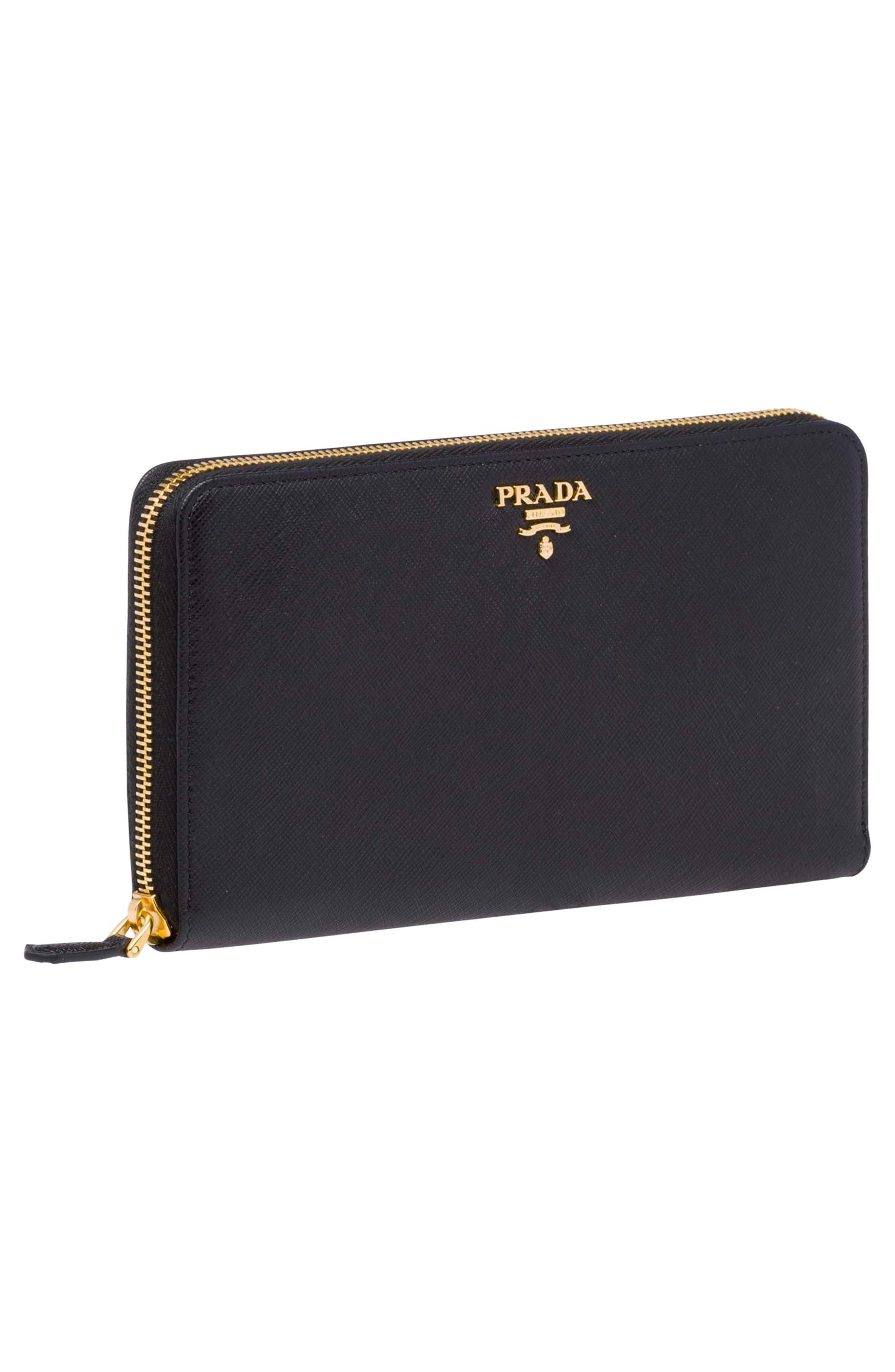 Oro Saffiano Leather Zip Around Wallet,                             Alternate thumbnail 5, color,                             001