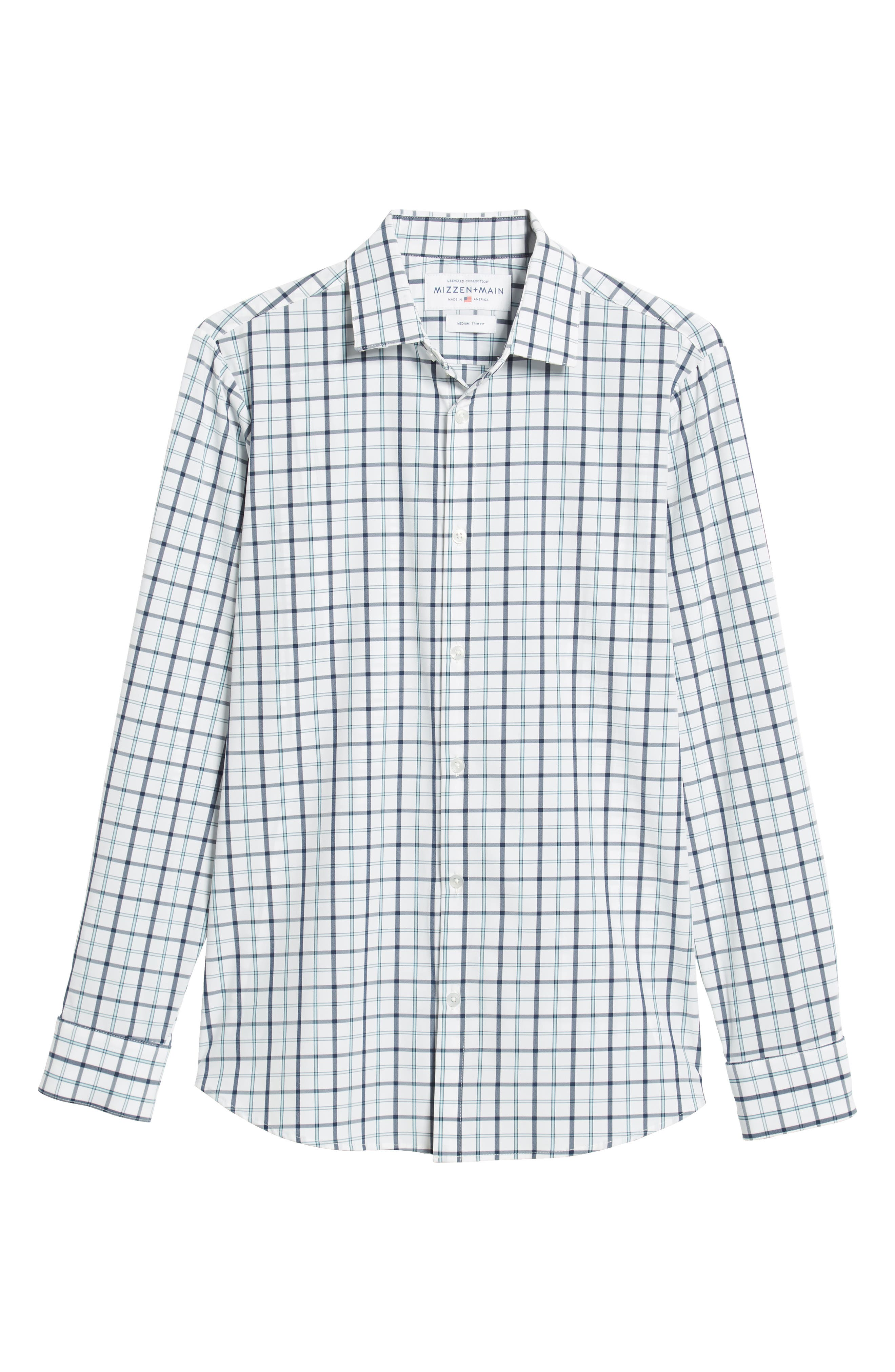 Bowers Regular Fit Check Performance Sport Shirt,                             Alternate thumbnail 5, color,                             NAVY