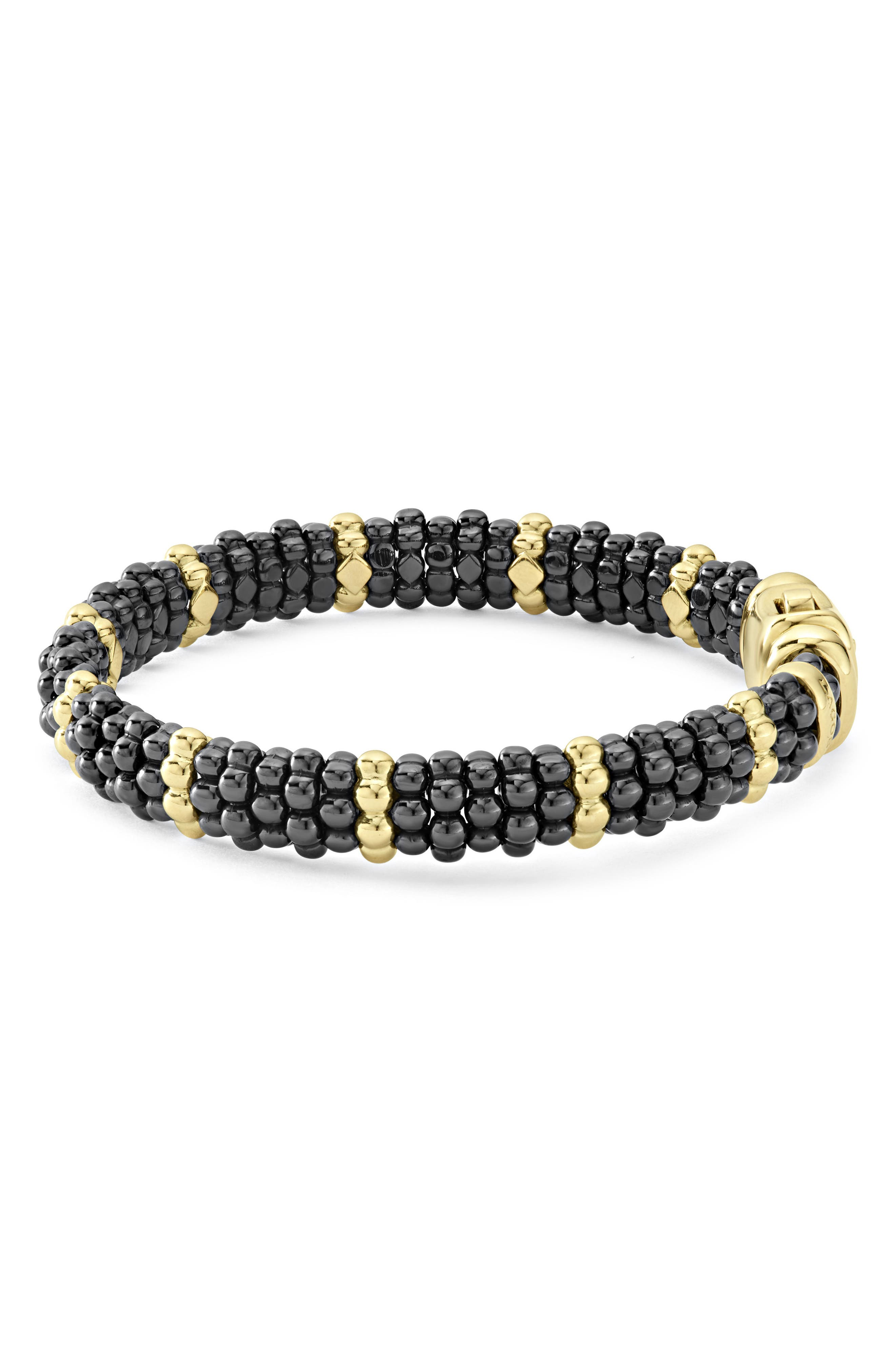 Gold & Black Caviar Station Bracelet,                             Alternate thumbnail 5, color,                             GOLD/ BLACK