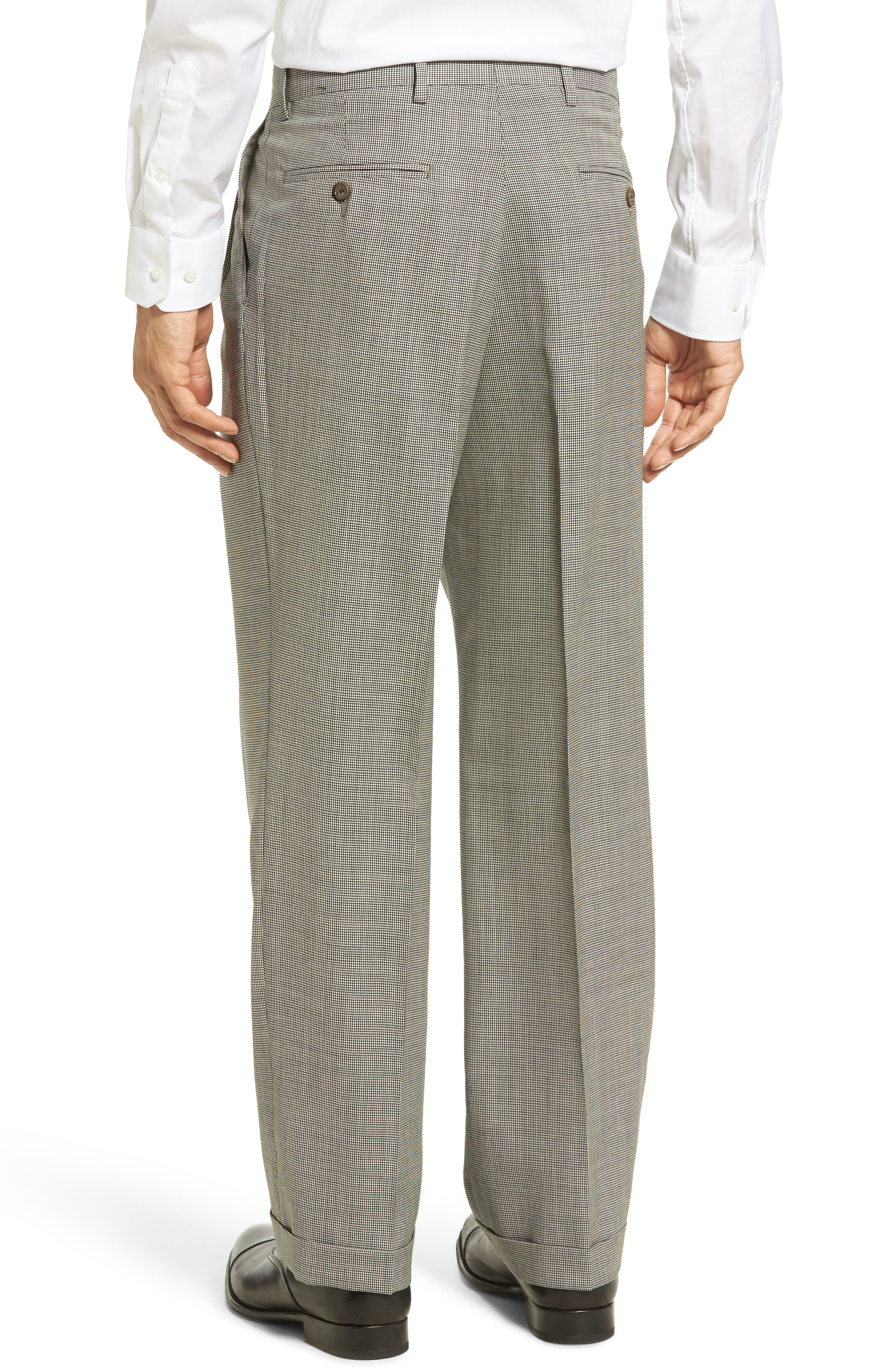 Pleated Houndstooth Wool Trousers,                             Alternate thumbnail 3, color,                             020