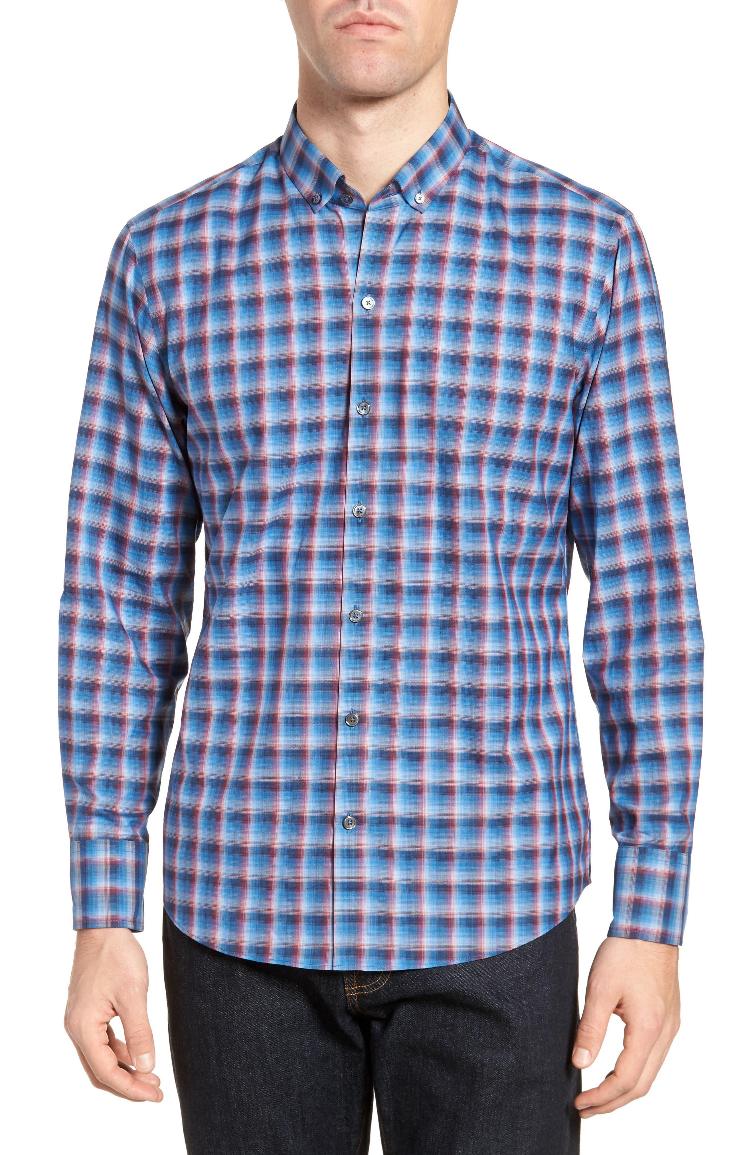 Pinker Plaid Sport Shirt,                         Main,                         color, 401