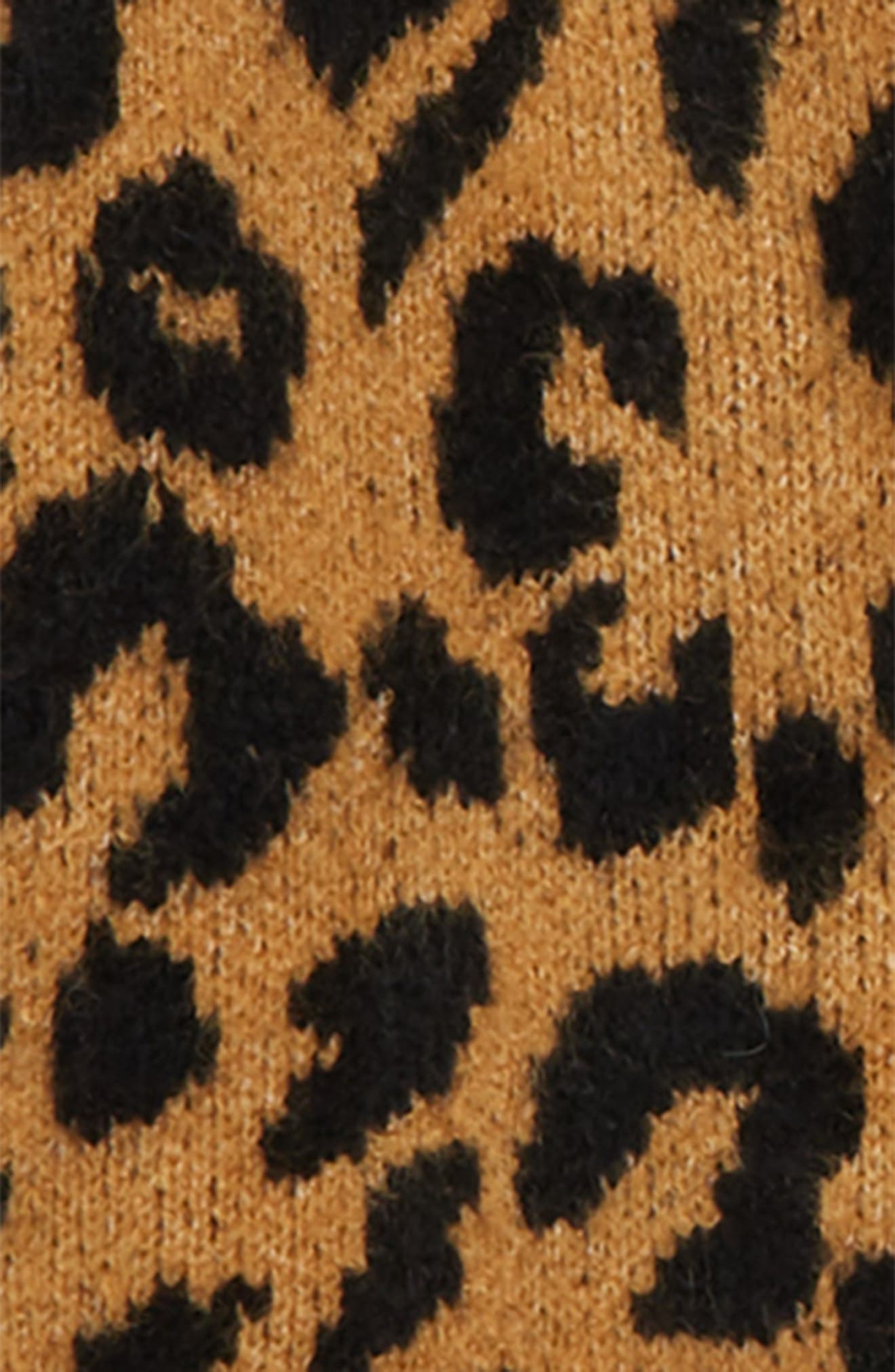 Fuzzy Open Front Cardigan,                             Alternate thumbnail 2, color,                             TAN DALE LEOPARD