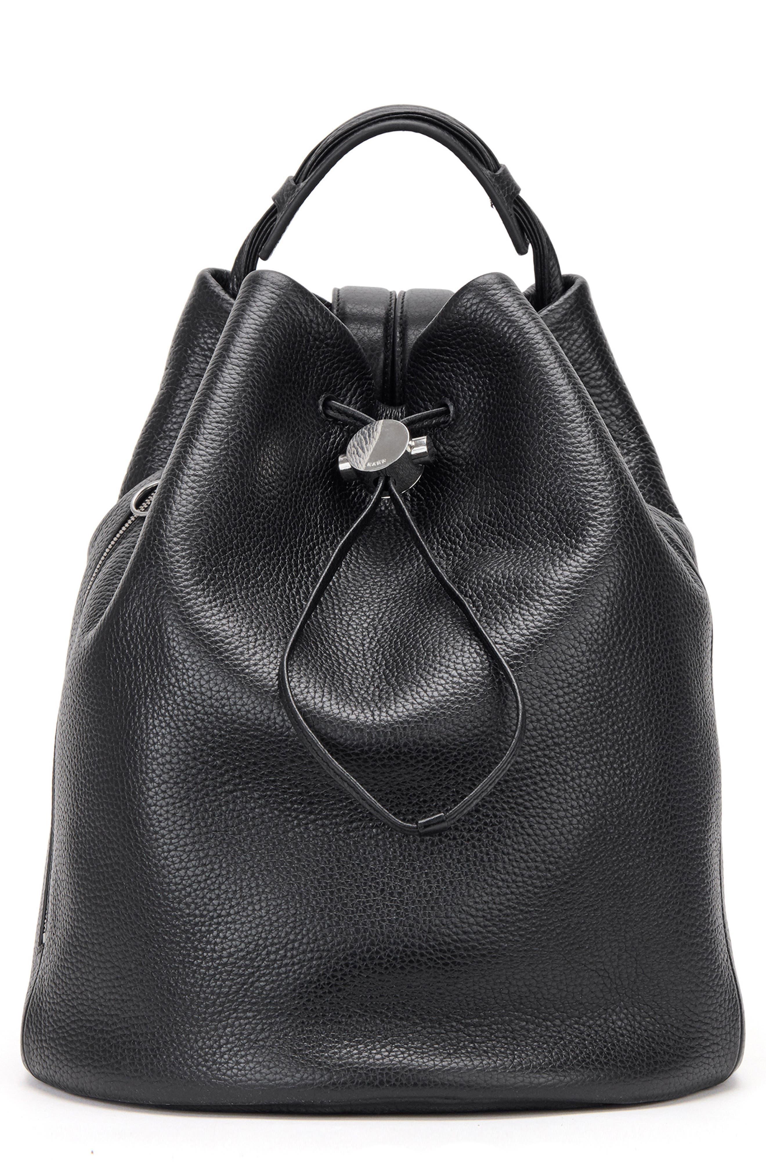 KARA Moon Drawcord Leather Backpack - Black
