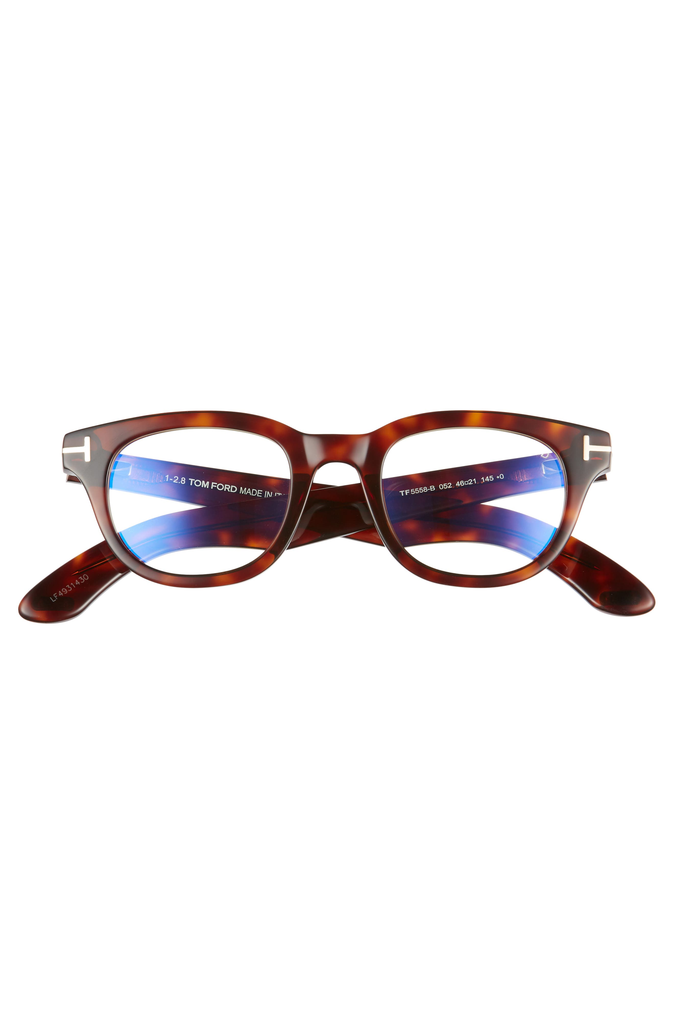 46mm Blue Light Blocking Glasses,                             Alternate thumbnail 3, color,                             SHINY DARK HAVANA/ ROSE GOLD
