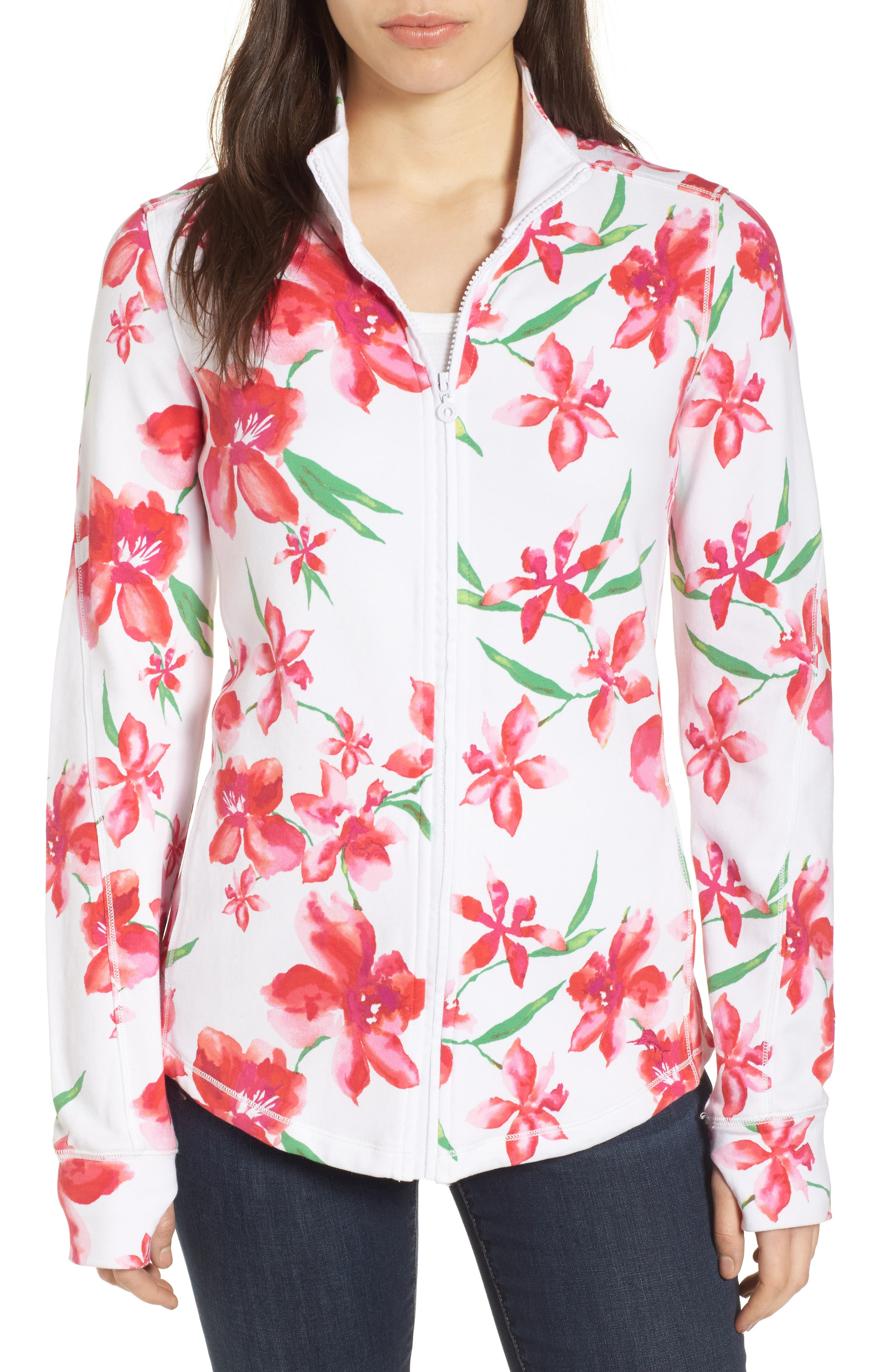 Floral Fade Stretch Cotton Zip Jacket,                         Main,                         color, WHITE