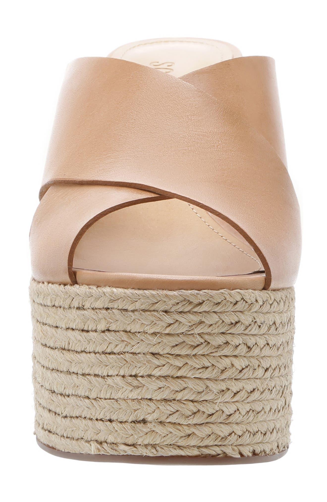 Lora Platform Wedge Sandal,                             Alternate thumbnail 4, color,                             HONEY BEIGE LEATHER