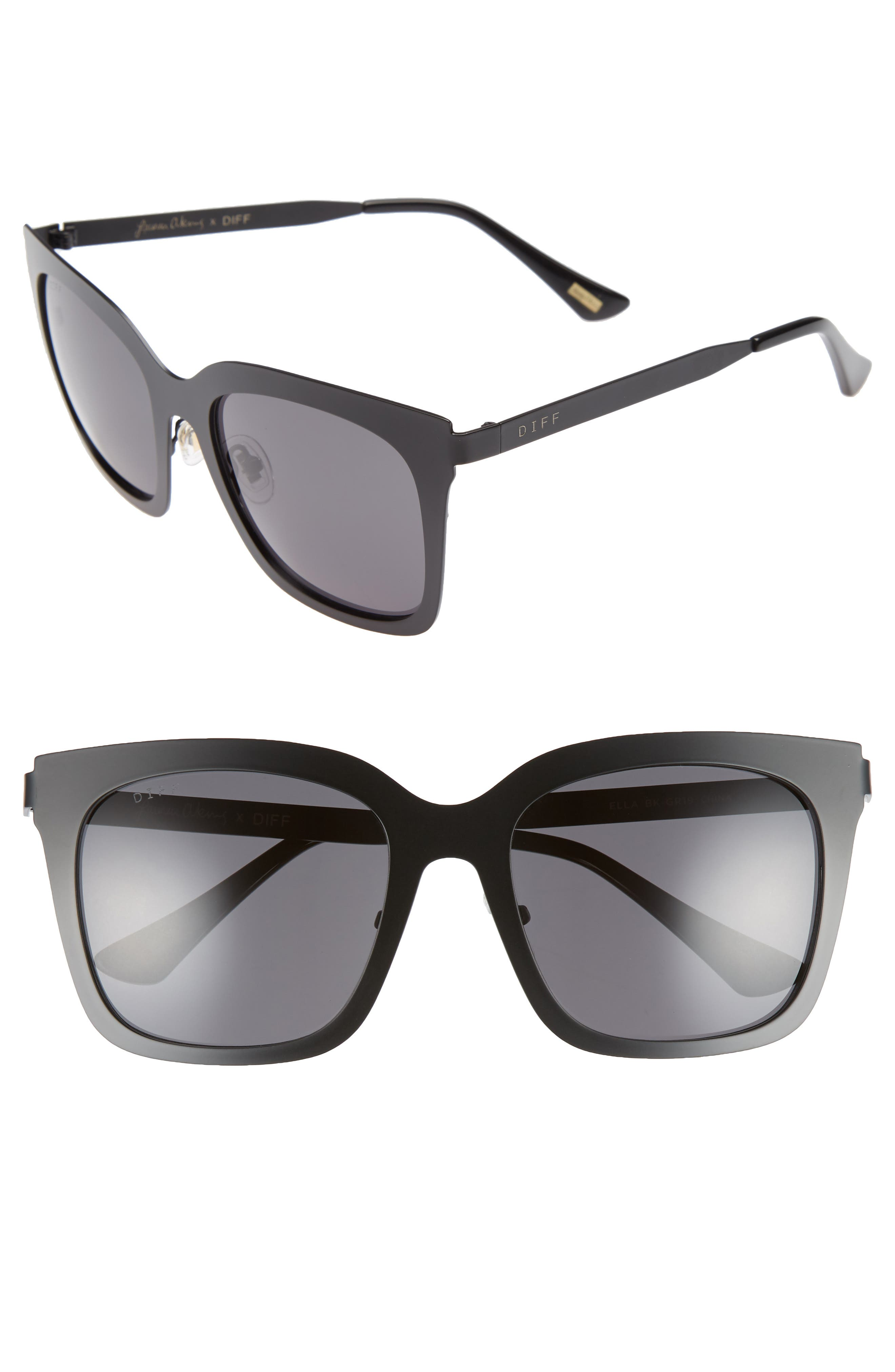 x Lauren Akins Ella 53mm Cat Eye Sunglasses,                             Main thumbnail 1, color,                             BLACK/ GREY