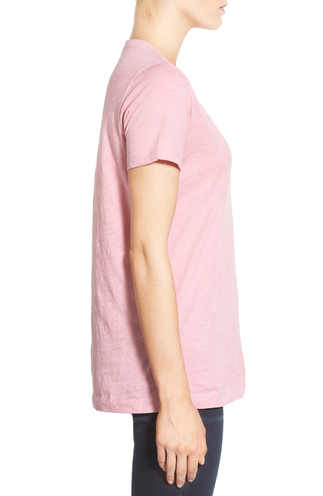 Whisper Cotton V-Neck Pocket Tee,                             Alternate thumbnail 163, color,