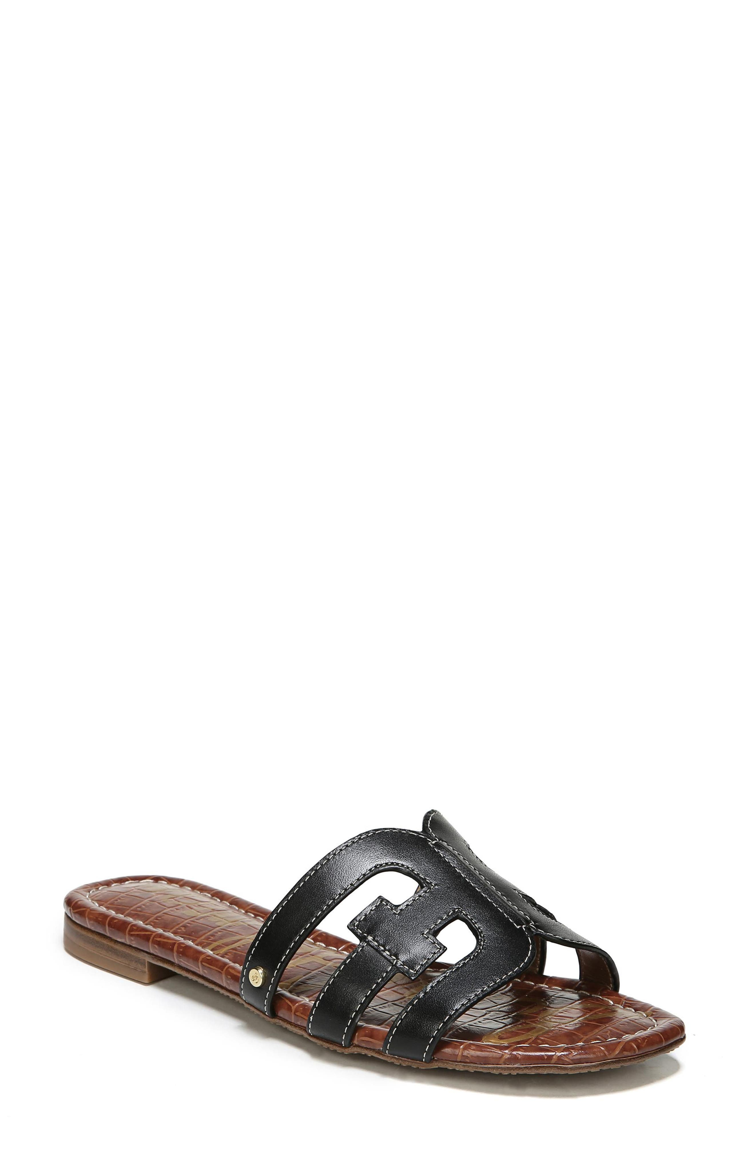 Bay Cutout Slide Sandal,                             Main thumbnail 1, color,                             BLACK LEATHER
