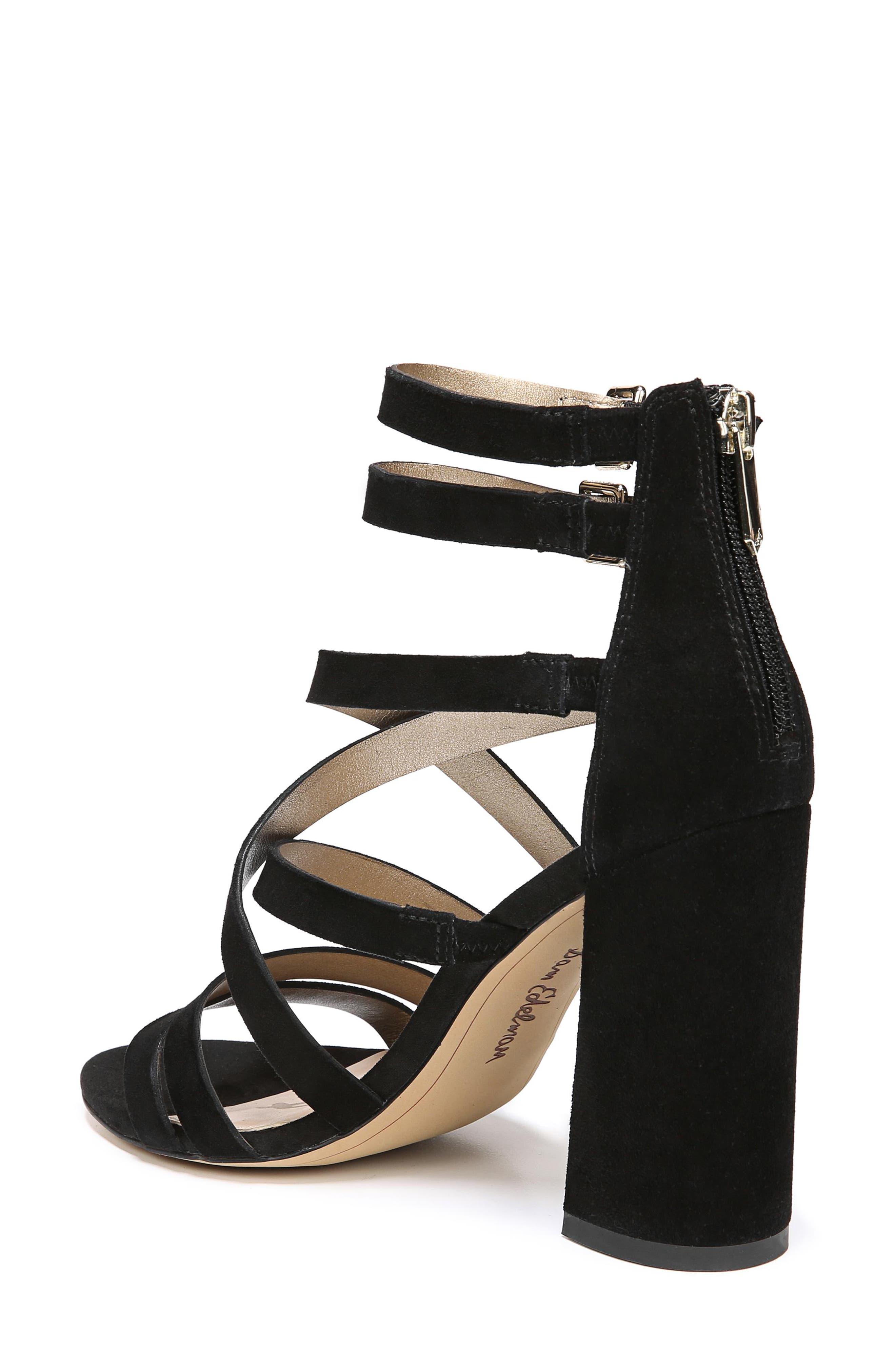 Yema Block Heel Sandal,                             Alternate thumbnail 2, color,                             BLACK SUEDE