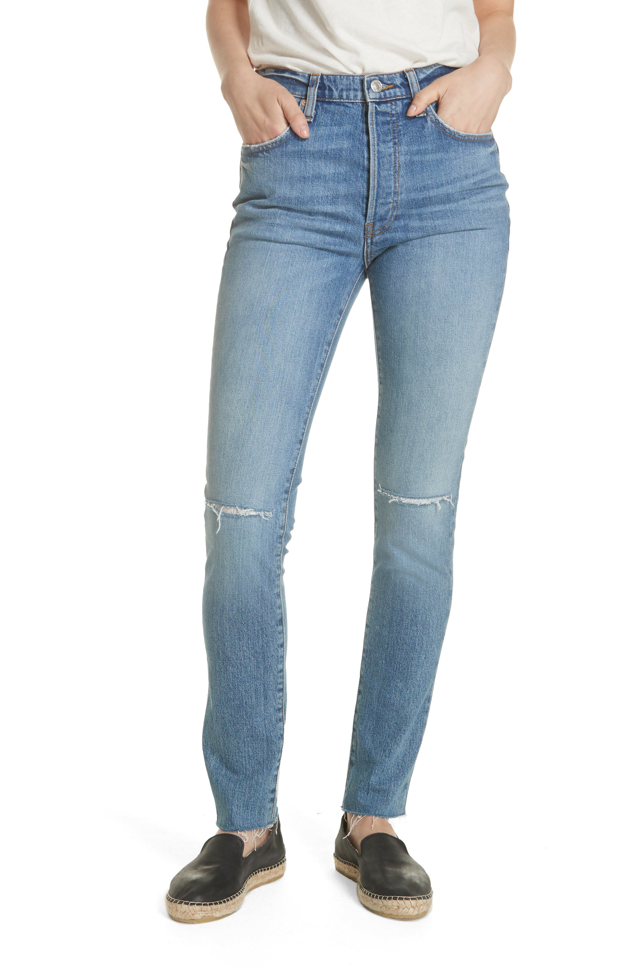 We the Free by Free People Stella High Waist Raw Hem Skinny Jeans, Main, color, BLUE