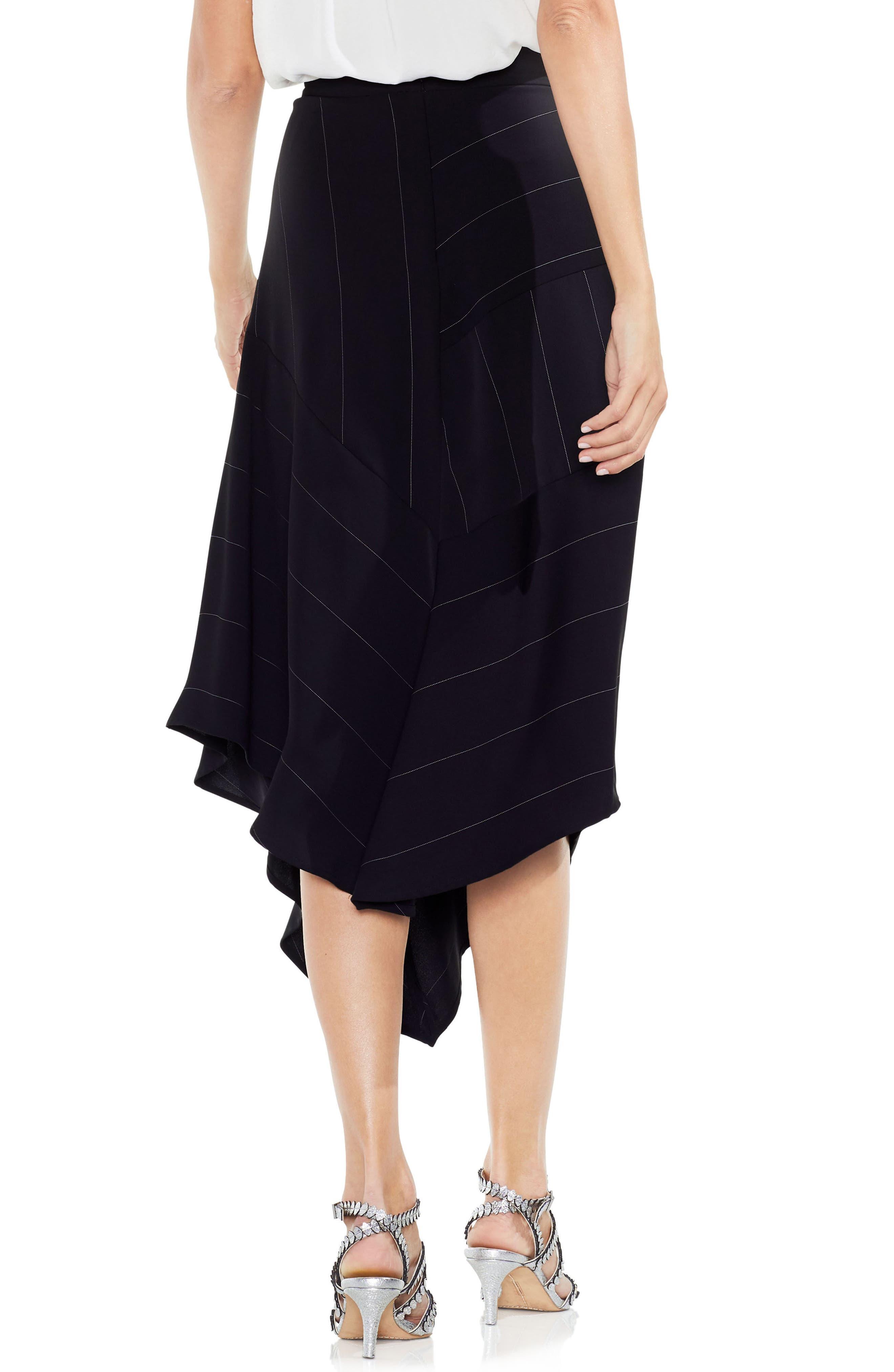 Chalk Stripe Asymmetrical Hem Skirt,                             Alternate thumbnail 2, color,