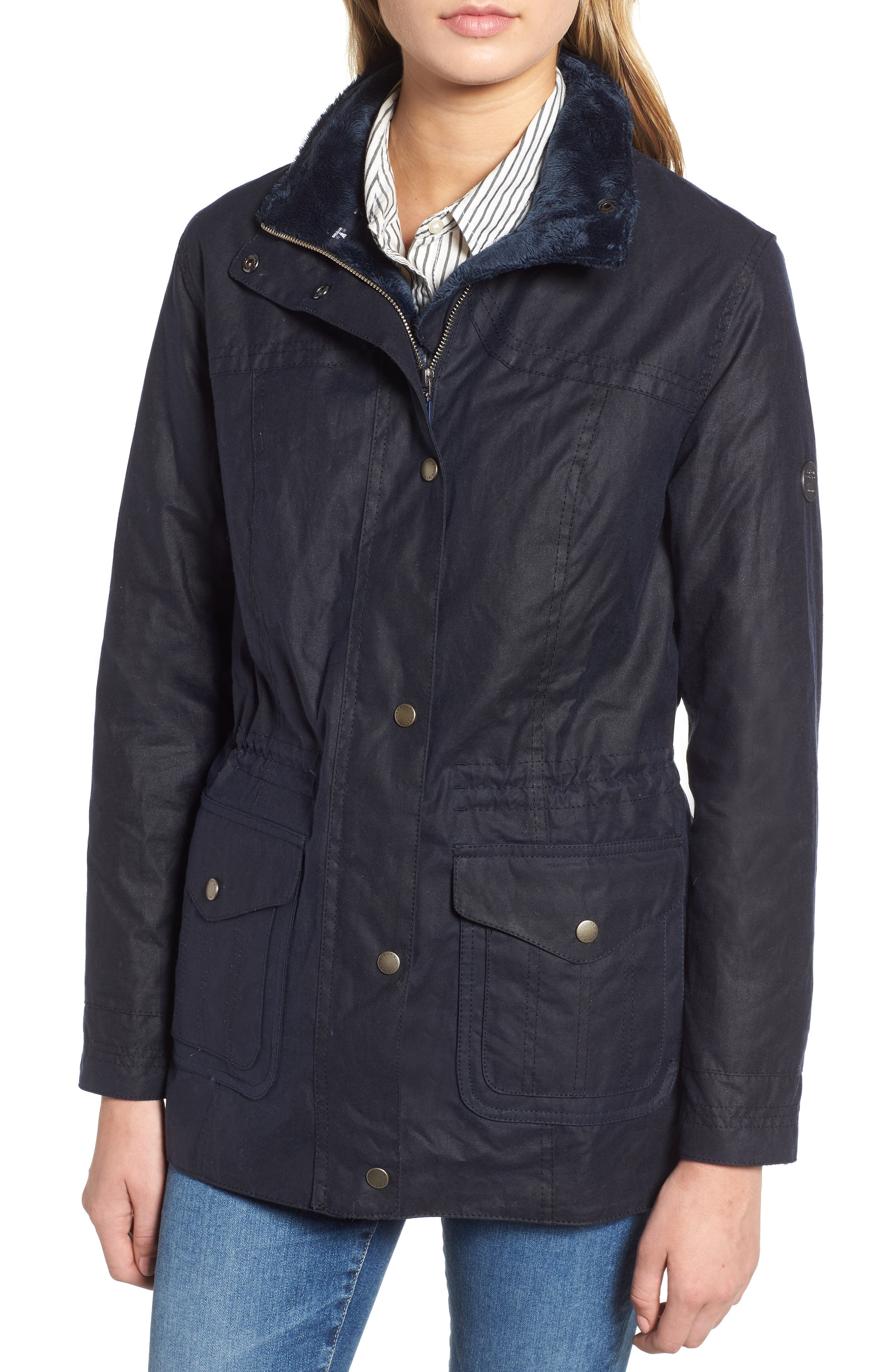 Southwold Jacket with Faux Fur Lining & Trim,                             Alternate thumbnail 4, color,                             ROYAL NAVY