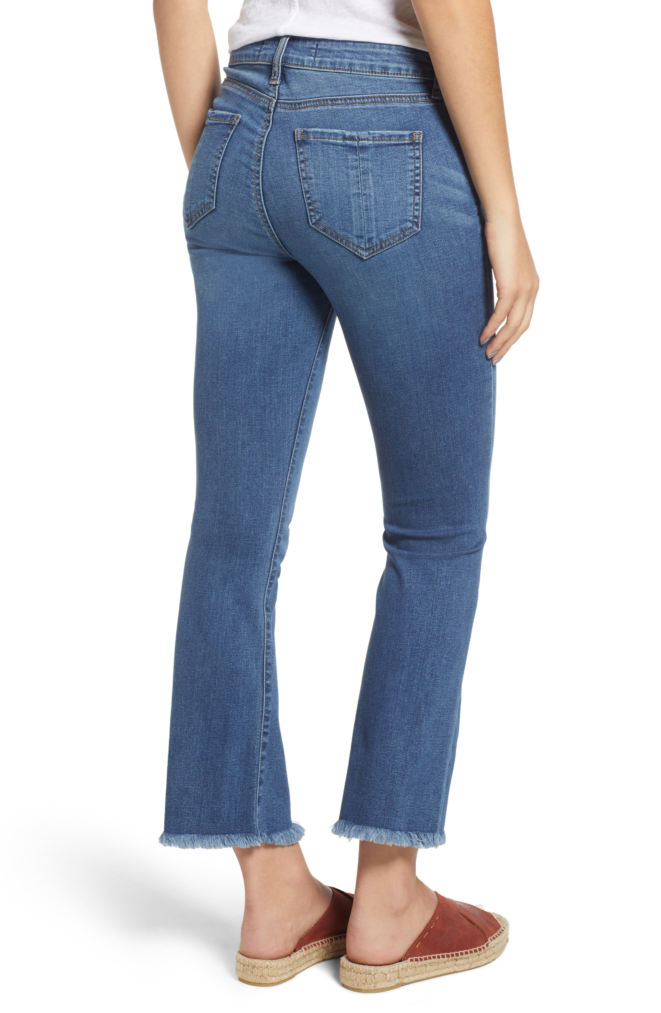 High Waist Crop Flare Jeans,                             Alternate thumbnail 2, color,                             COOL GIRL MED WASH